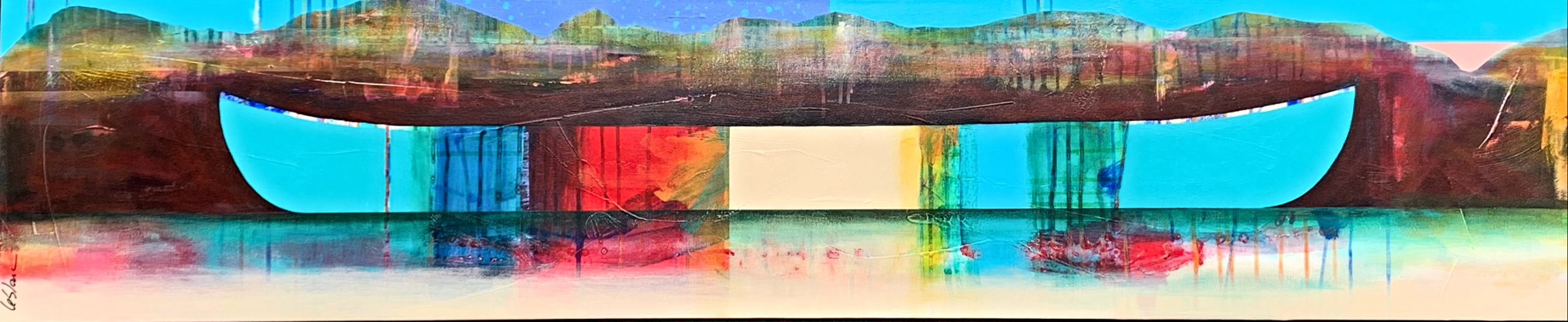 Loin des côtes, mixed media canoe painting by Sylvain Leblanc   Effusion Art Gallery + Cast Glass Studio, Invermere BC