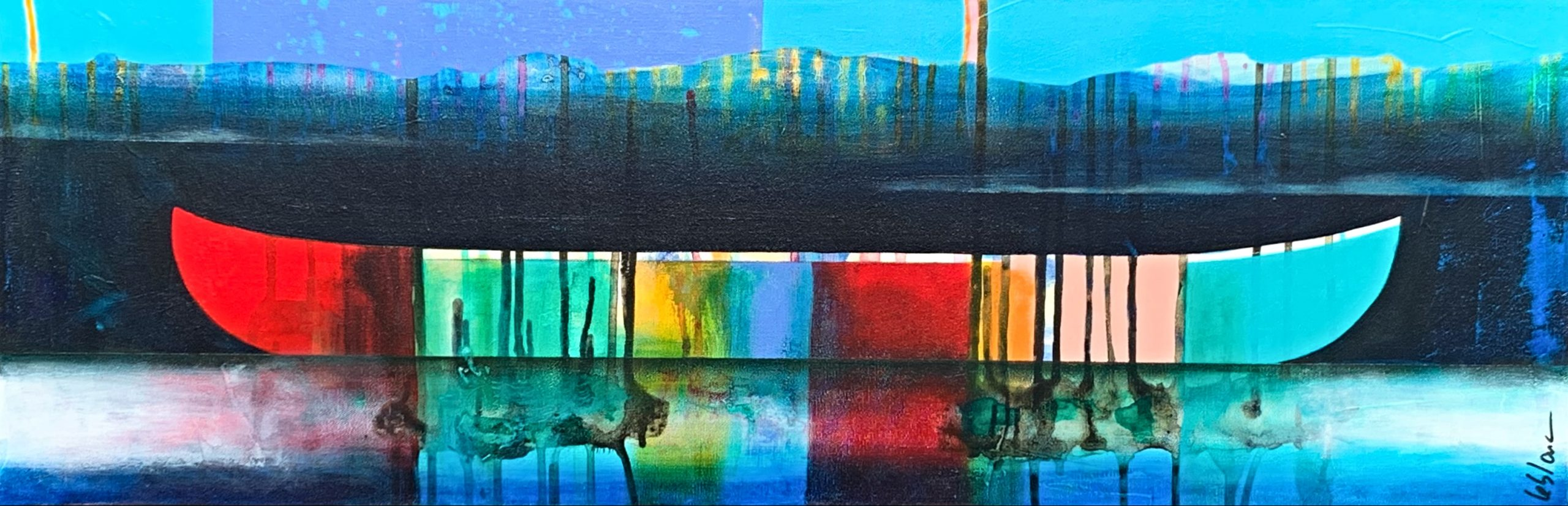 Souvenirs au loin, mixed media canoe painting by Sylvain Leblanc | Effusion Art Gallery + Cast Glass Studio, Invermere BC