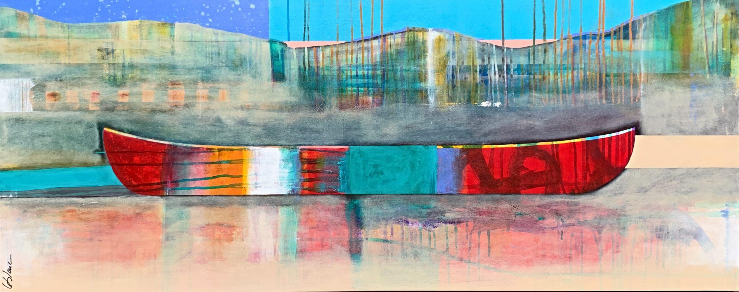 Tu m'amènes vers d'autres rives, mixed media canoe painting by Sylvain Leblanc | Effusion Art Gallery + Cast Glass Studio, Invermere BC