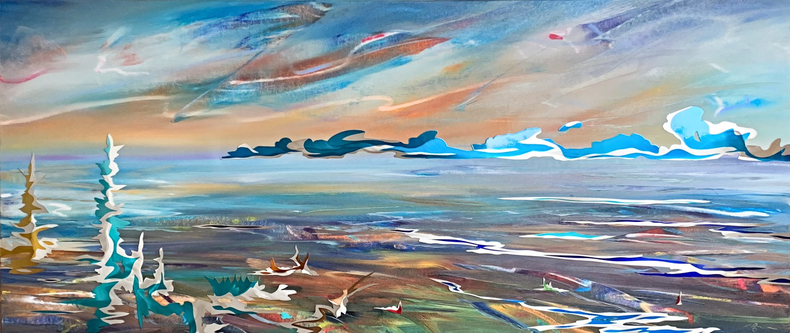 Awakening, mixed media landscape painting by Joel Masewich | Effusion Art Gallery + Cast Glass Studio, Invermere BC