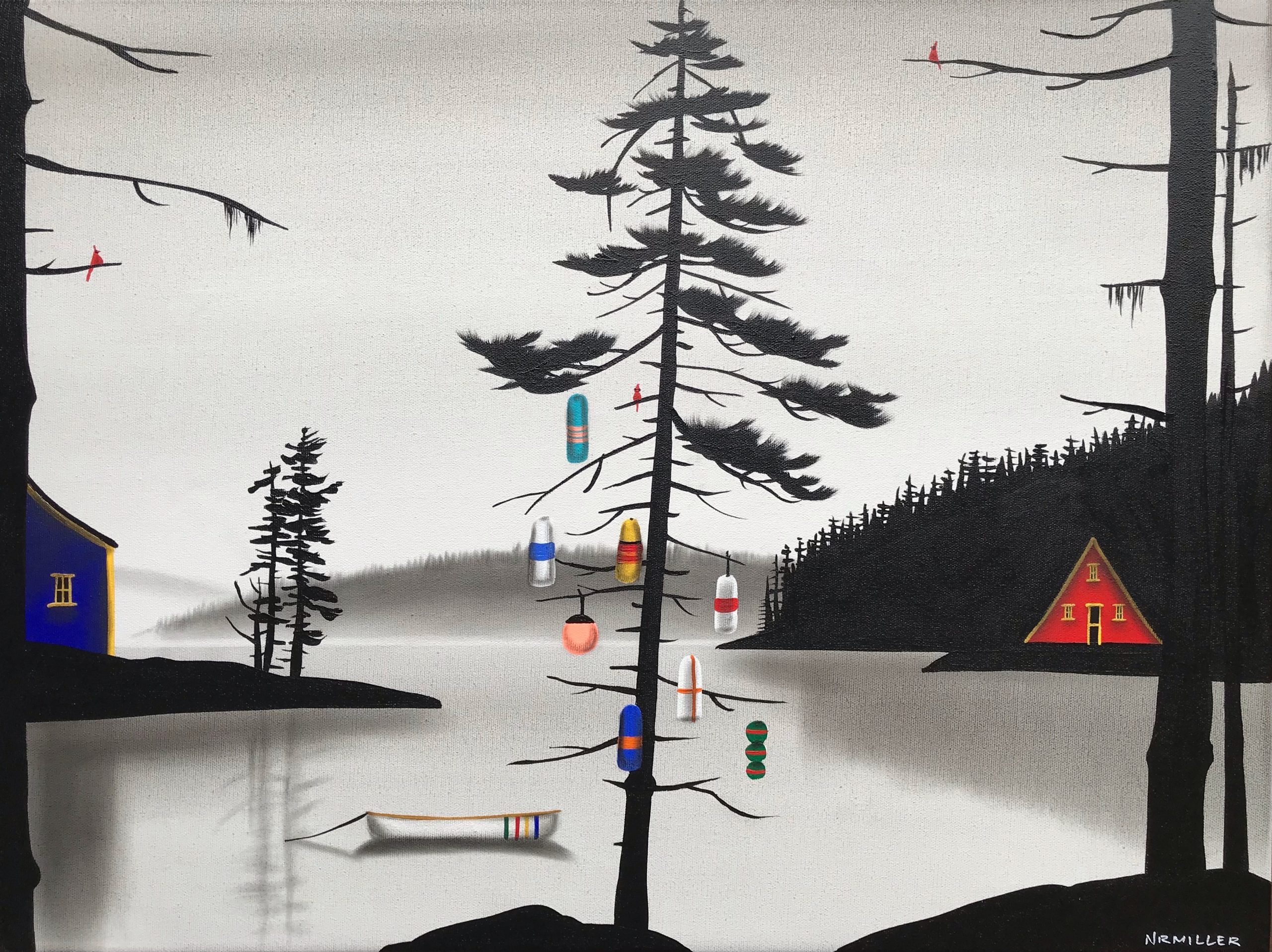 Endless Days, mixed media landscape painting by Natasha Miller | Effusion Art Gallery + Cast Glass Studio, Invermere BC