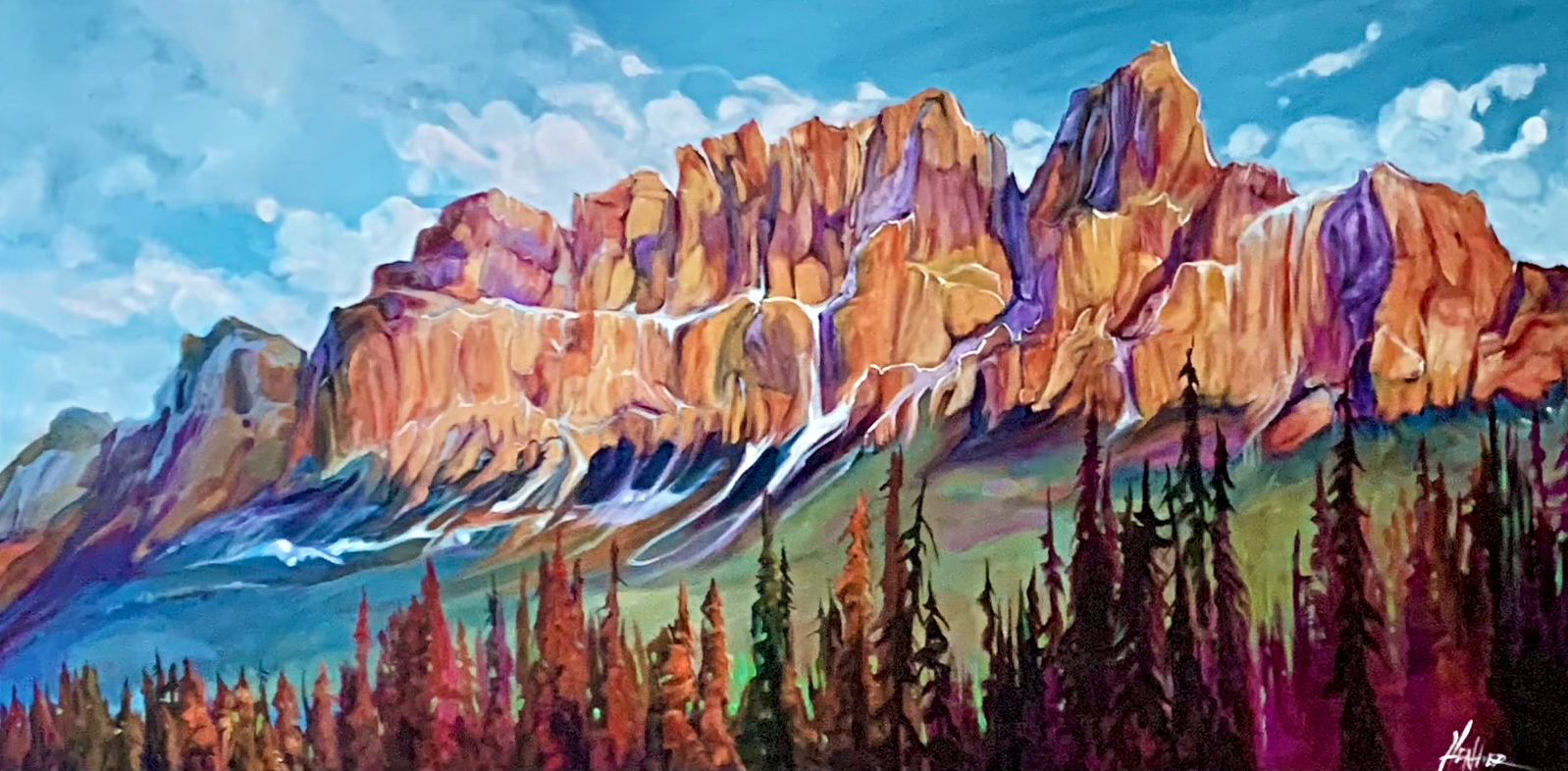 Beneath the Walls of the Castle, Castle Mountain painting by Heather Pant   Effusion Art Gallery + Cast Glass Studio, Invermere BC