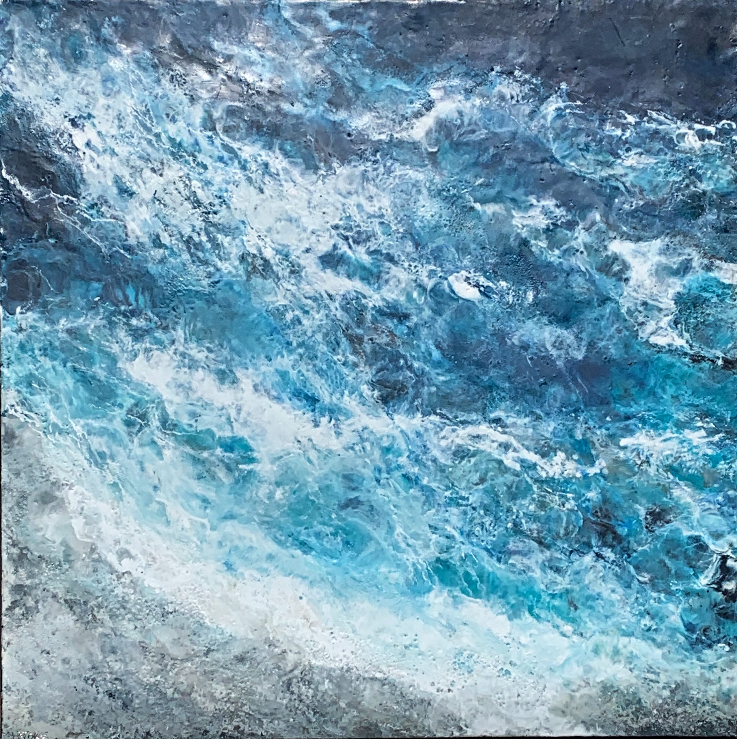 Crashing Waves, encaustic ocean painting by Lee Anne LaForge | Effusion Art Gallery + Cast Glass Studio, Invermere BC
