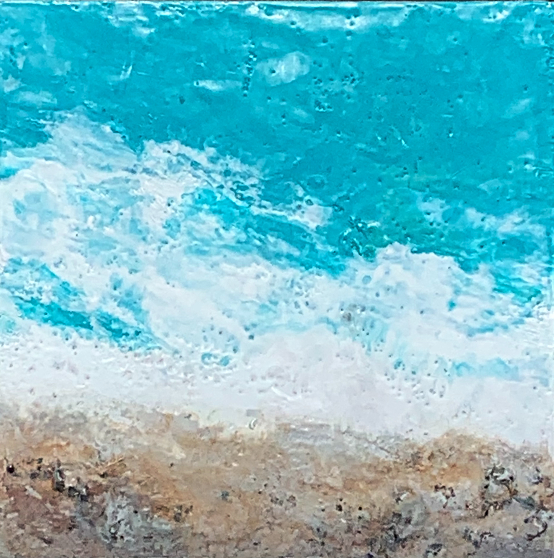 The Beach, encaustic ocean painting by Lee Anne LaForge | Effusion Art Gallery + Cast Glass Studio, Invermere BC