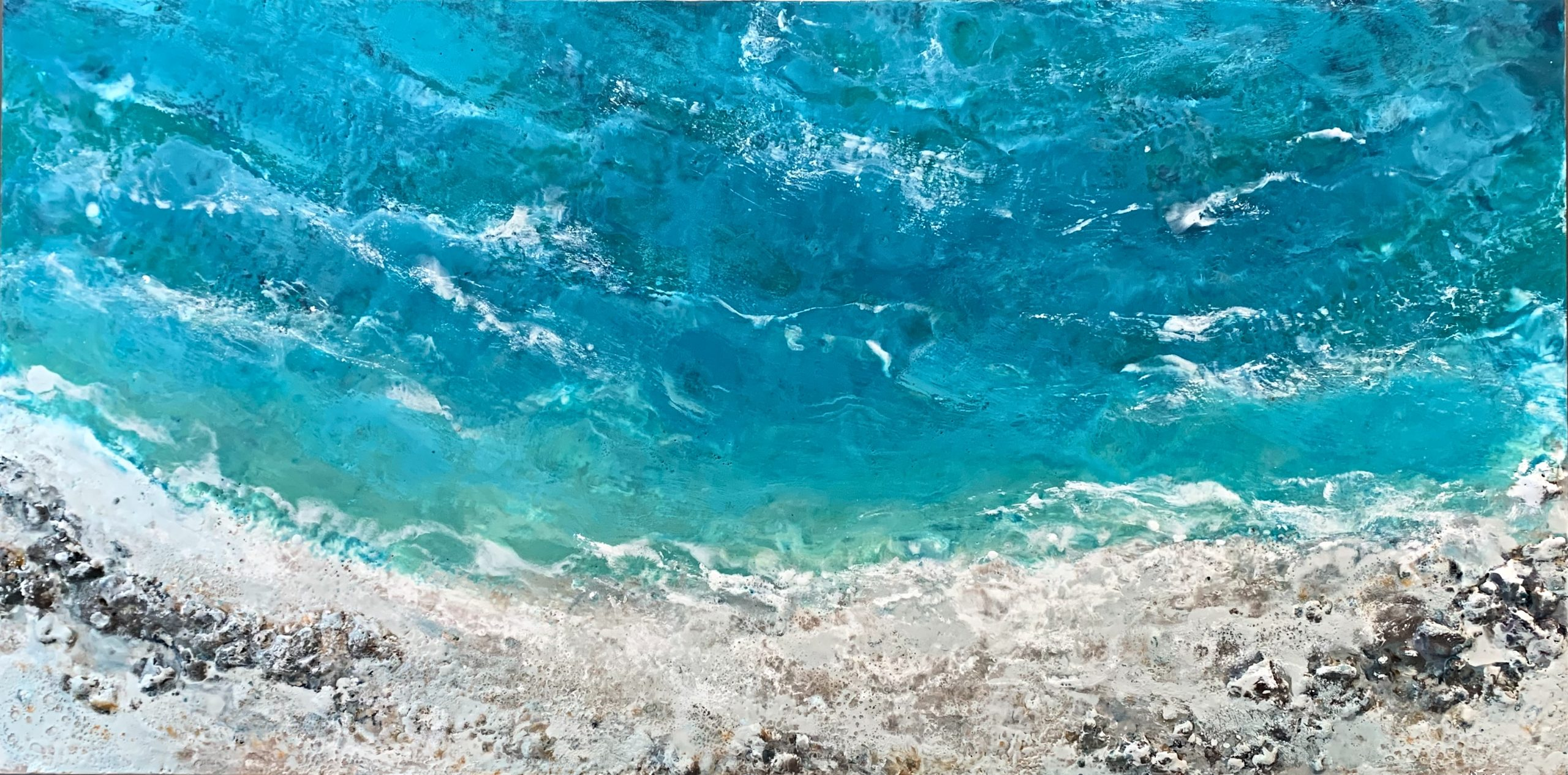 The Sea Calls My Name, encaustic ocean painting by Lee Anne LaForge | Effusion Art Gallery + Cast Glass Studio, Invermere BC