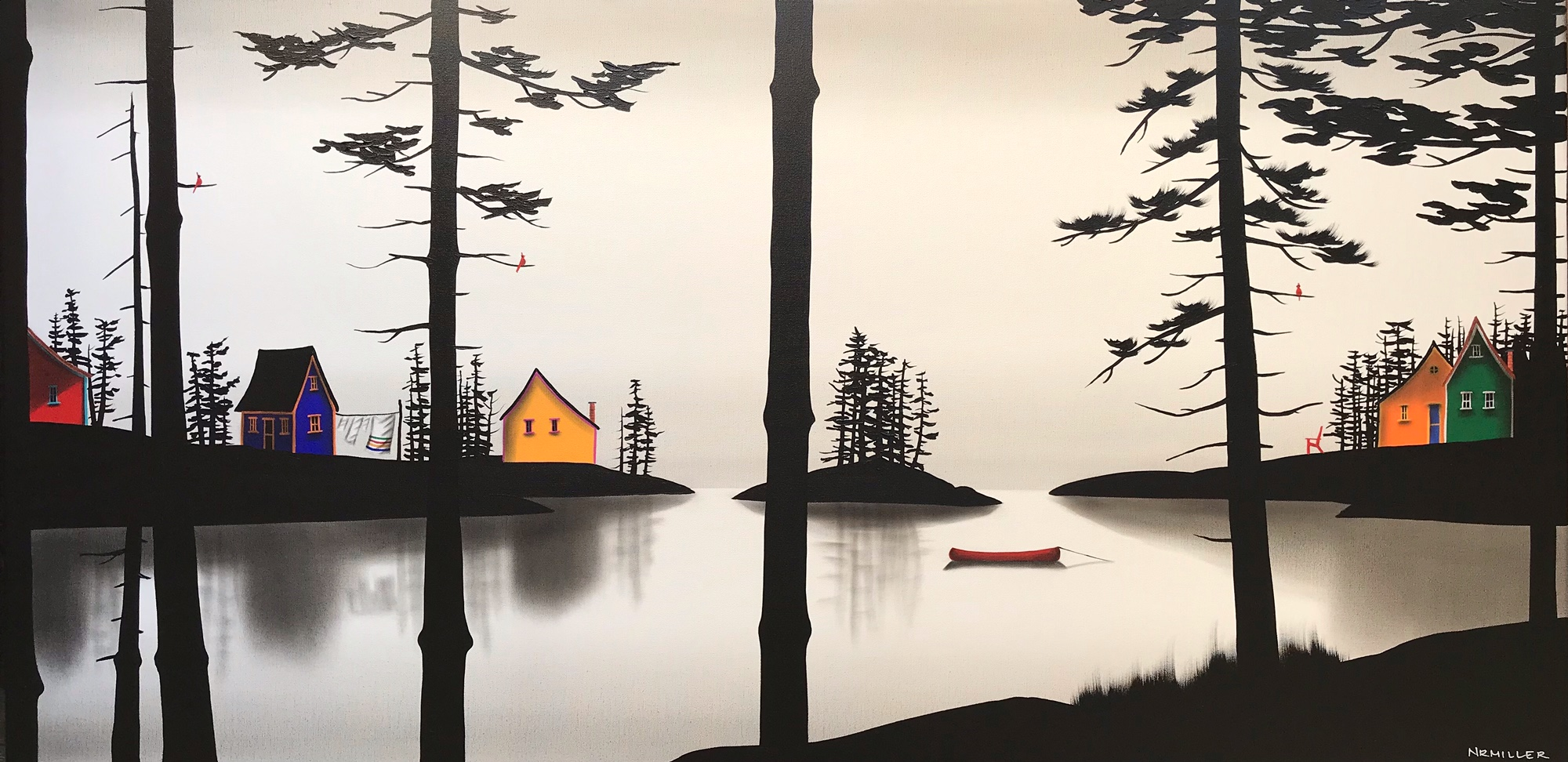 Cottage Country Dreamin', mixed media landscape painting by Natasha Miller | Effusion Art Gallery + Cast Glass Studio, Invermere BC
