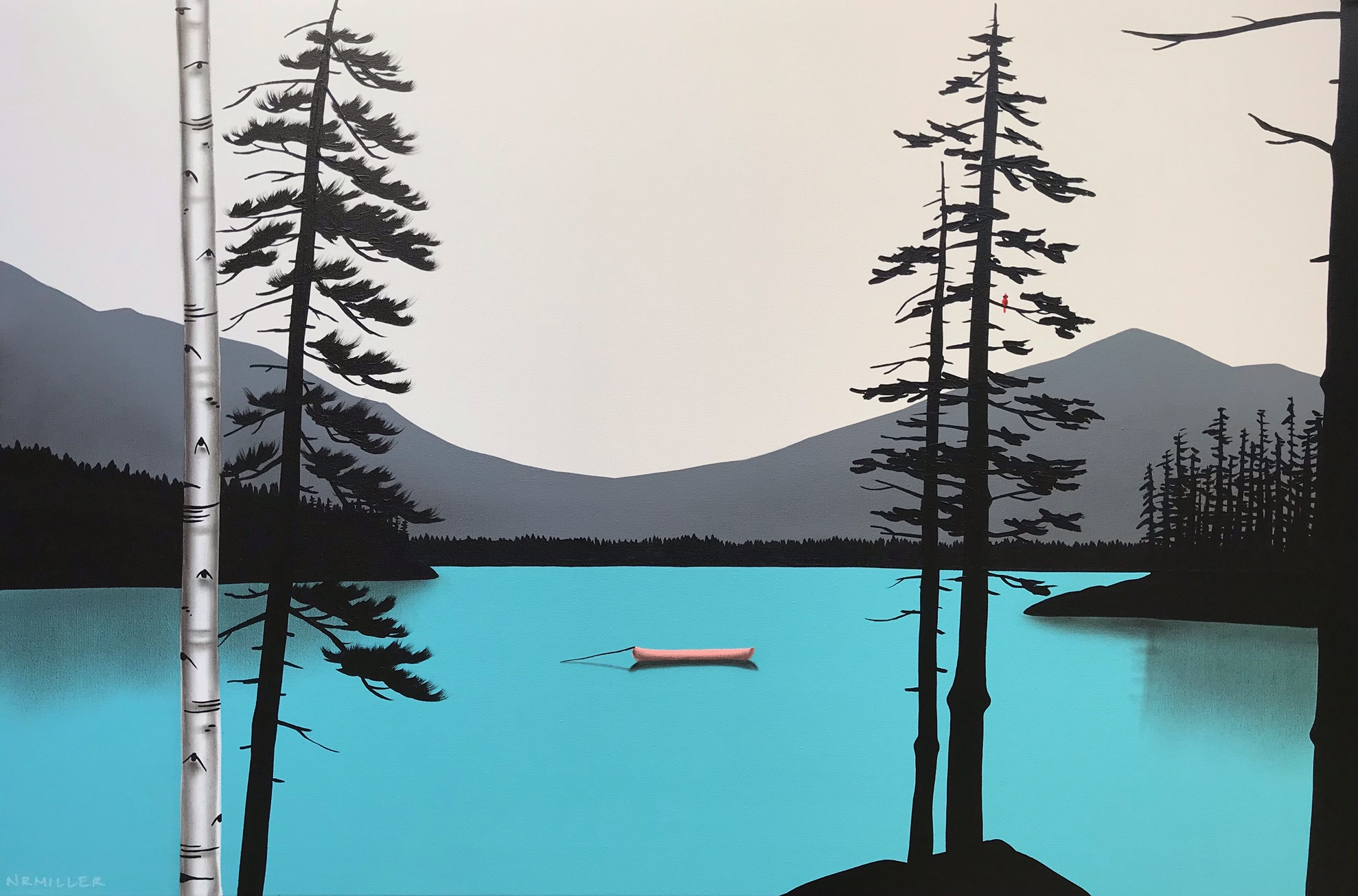 Mission Accomplished, mixed media landscape painting by Natasha Miller   Effusion Art Gallery + Cast Glass Studio, Invermere BC