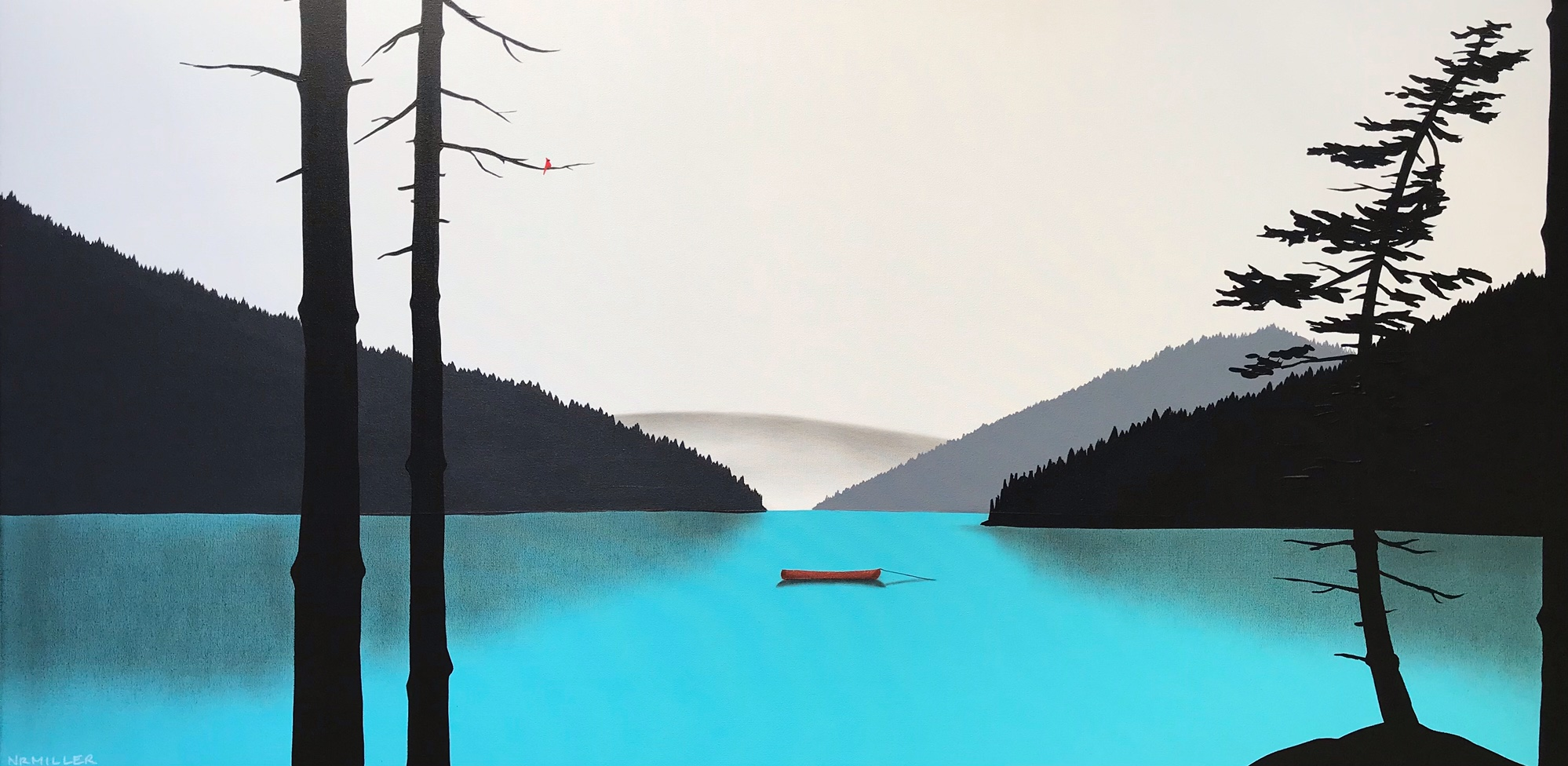 To Dream a Dream of You too, mixed media landscape painting by Natasha Miller | Effusion Art Gallery + Cast Glass Studio, Invermere BC