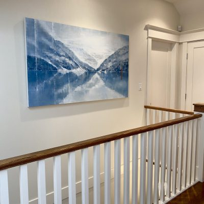 Moments We Share Together, installed acrylic landscape painting by Gina Sarro   Effusion Art Gallery + Cast Glass Studio, Invermere BC