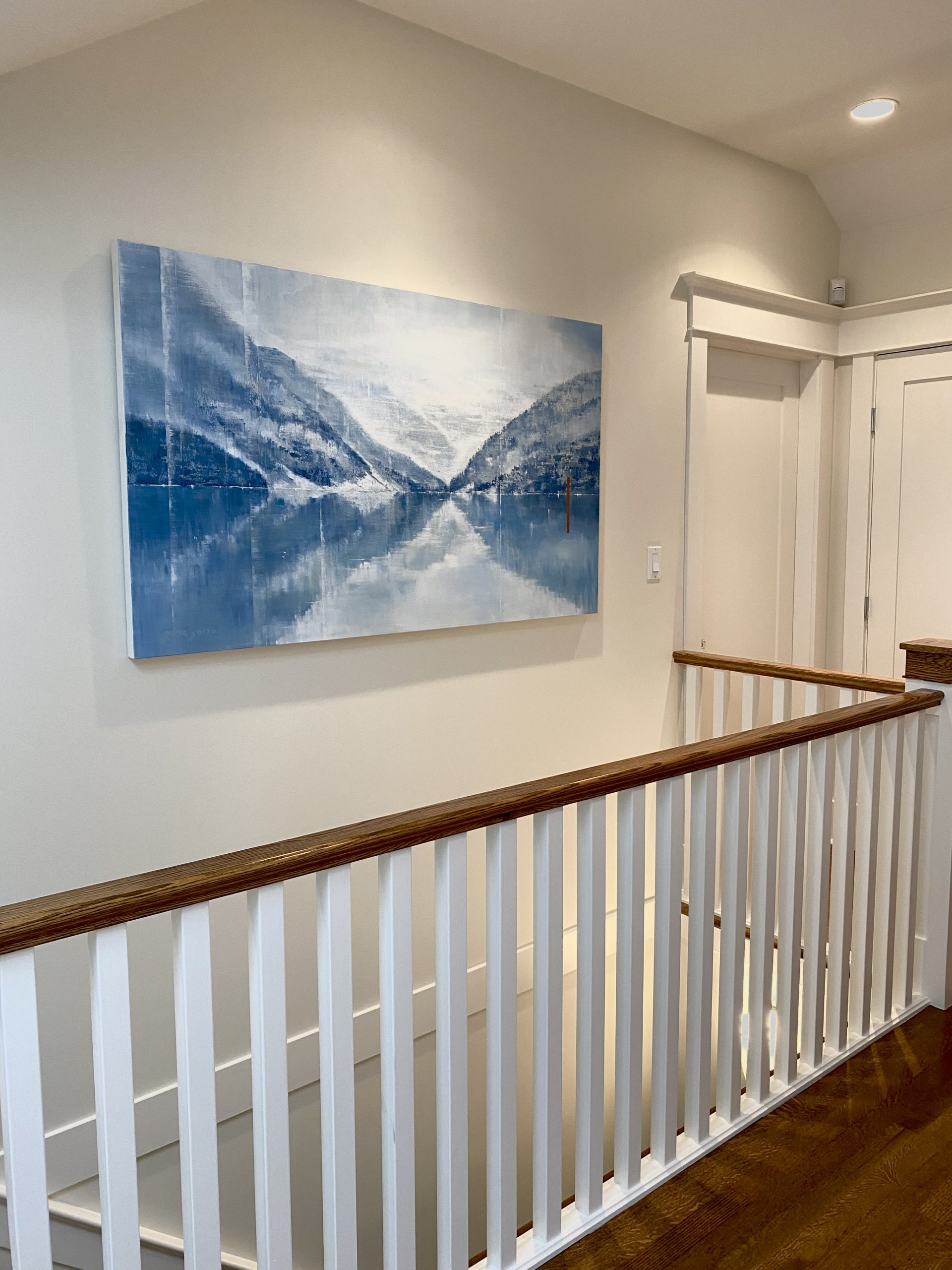 Moments We Share Together, installed acrylic landscape painting by Gina Sarro | Effusion Art Gallery + Cast Glass Studio, Invermere BC