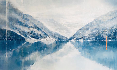 Moments We Share Together, acrylic landscape painting by Gina Sarro | Effusion Art Gallery + Cast Glass Studio, Invermere BC
