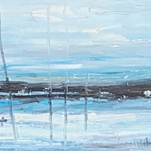 Quiet of Winter, acrylic landscape painting by Gina Sarro   Effusion Art Gallery + Cast Glass Studio, Invermere BC