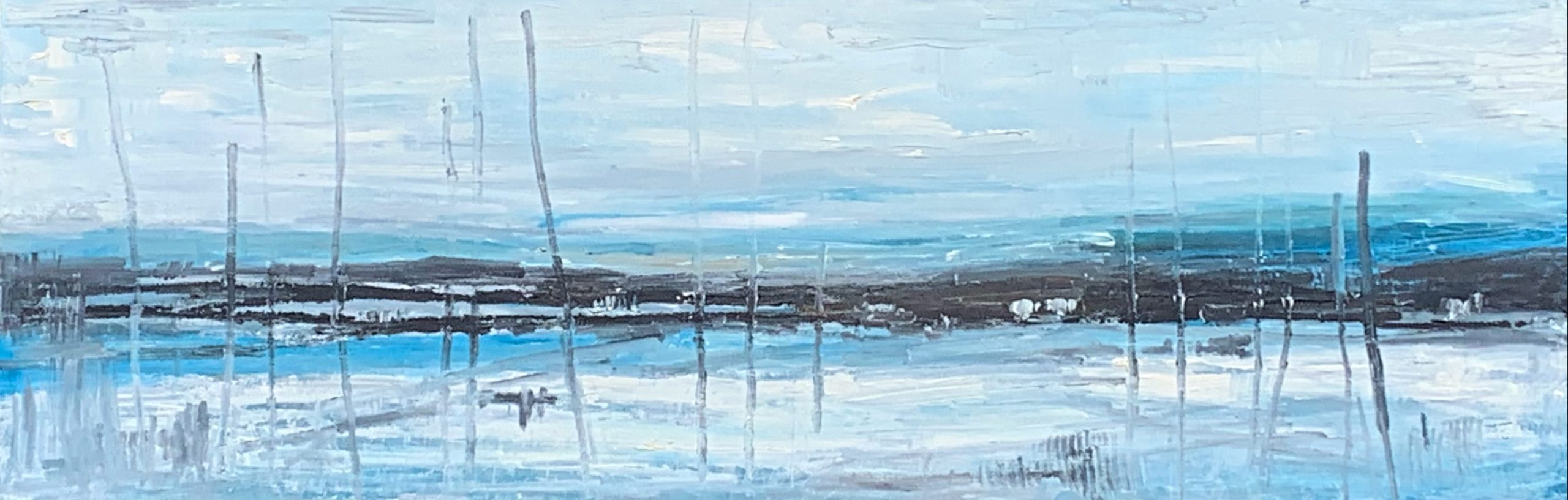 Quiet of Winter, acrylic landscape painting by Gina Sarro | Effusion Art Gallery + Cast Glass Studio, Invermere BC