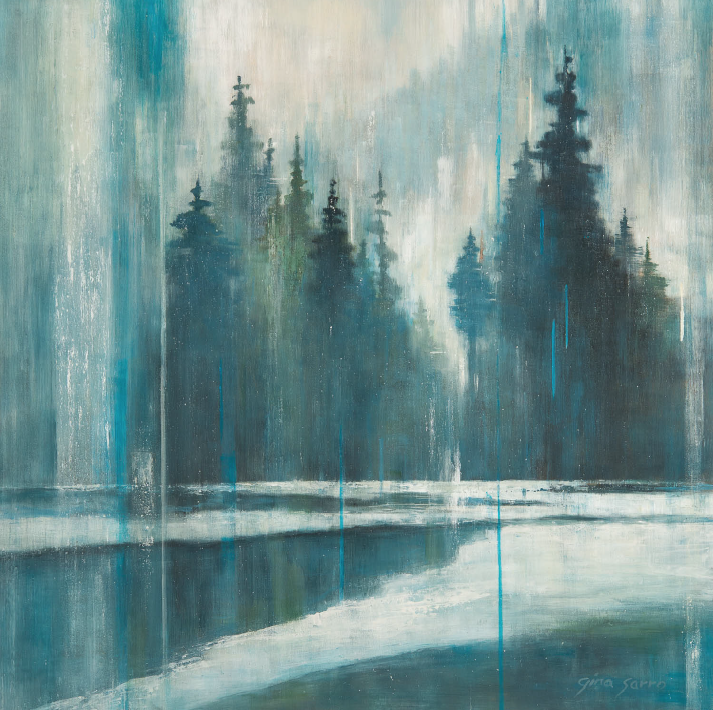 Shared Memories, acrylic landscape painting by Gina Sarro | Effusion Art Gallery + Cast Glass Studio, Invermere BC