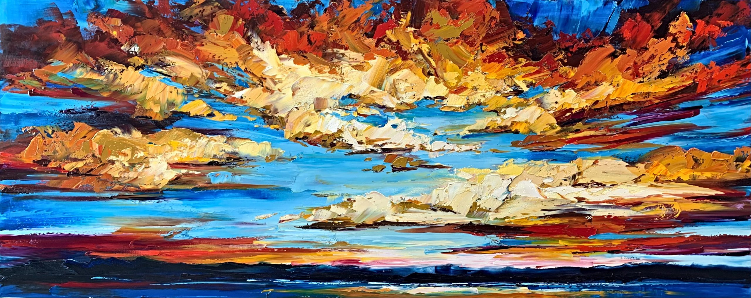 Halfway Home by Morning, sunset painting by Kimberly Kiel | Effusion Art Gallery + Cast Glass Studio, Invermere BC