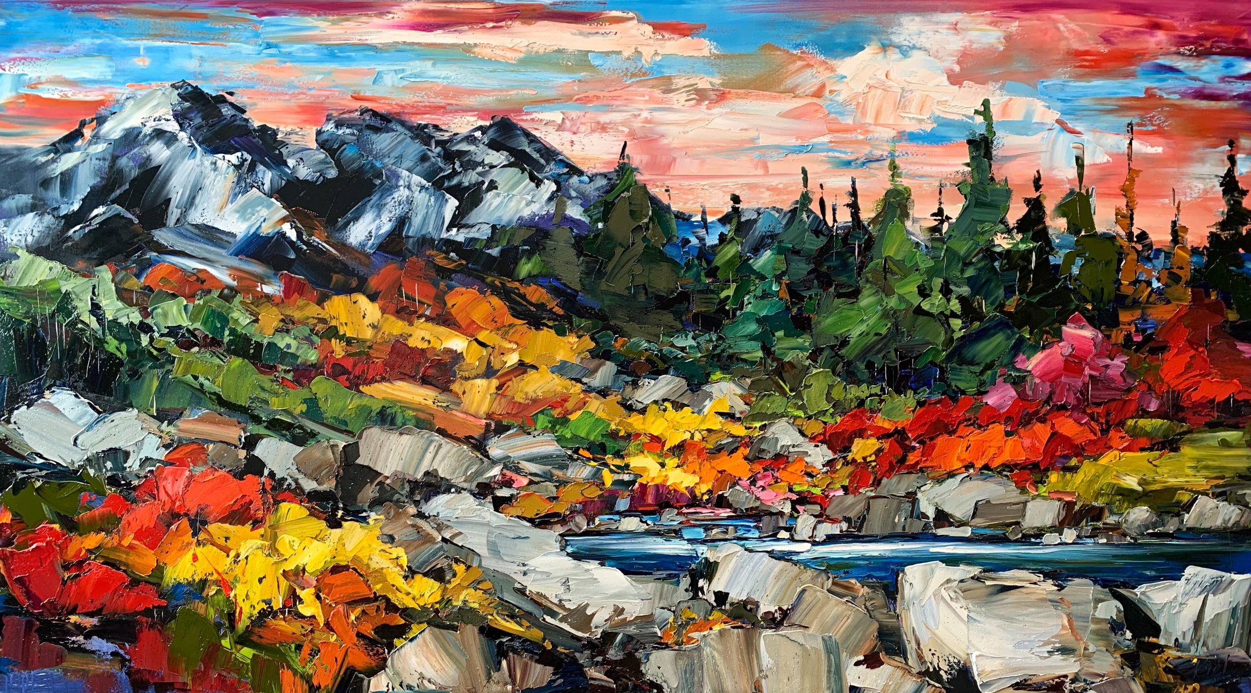 Long Time Passing, landscape painting by Kimberly Kiel | Effusion Art Gallery + Cast Glass Studio, Invermere BC