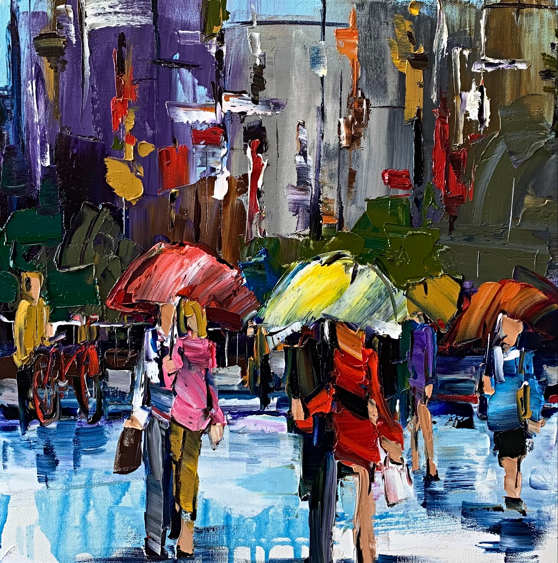 There's Just Something about an Umbrella 1, rainy cityscape painting by Kimberly Kiel | Effusion Art Gallery + Cast Glass Studio, Invermere BC