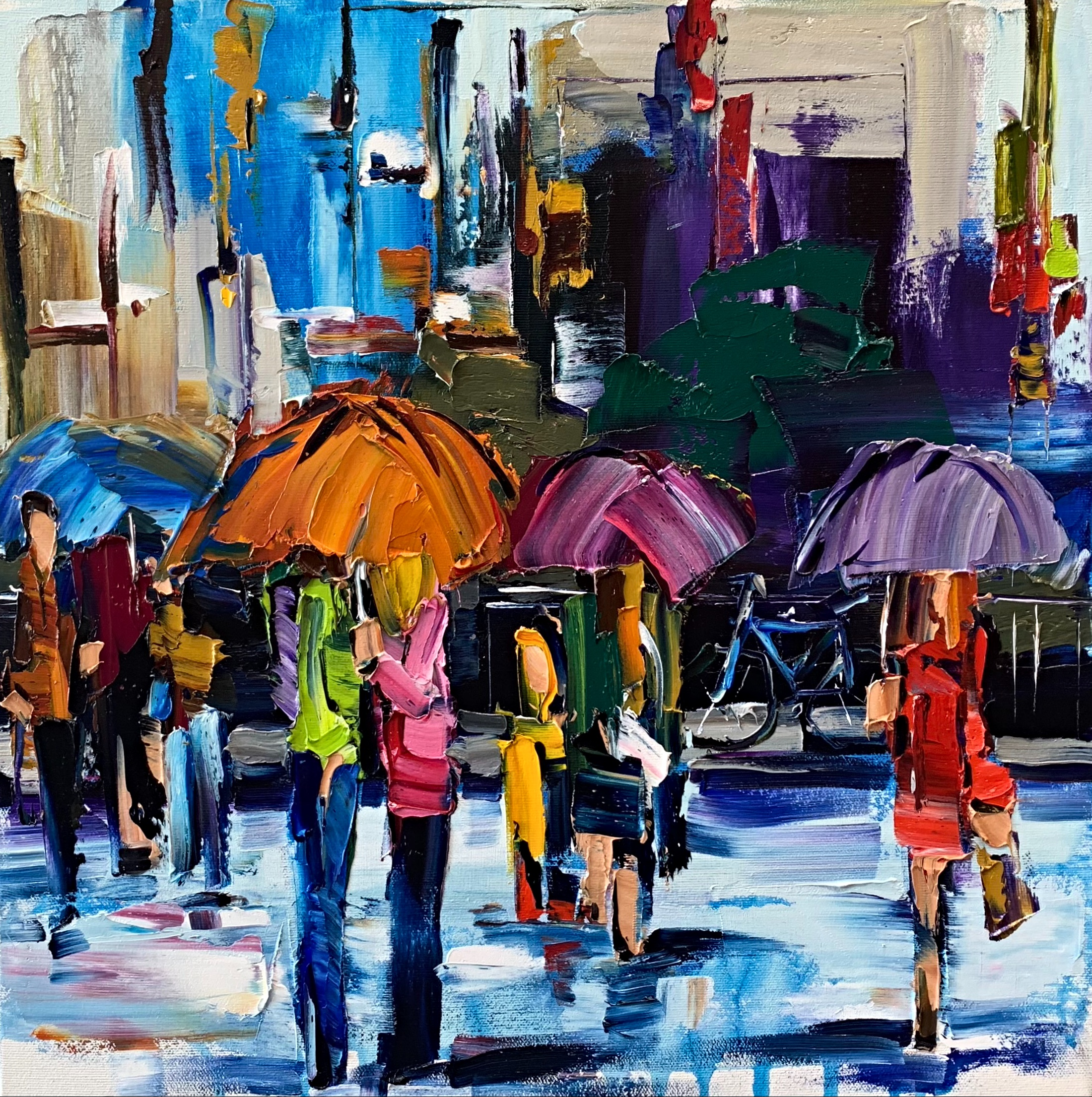 There's Just Something about an Umbrella 2, rainy cityscape painting by Kimberly Kiel   Effusion Art Gallery + Cast Glass Studio, Invermere BC