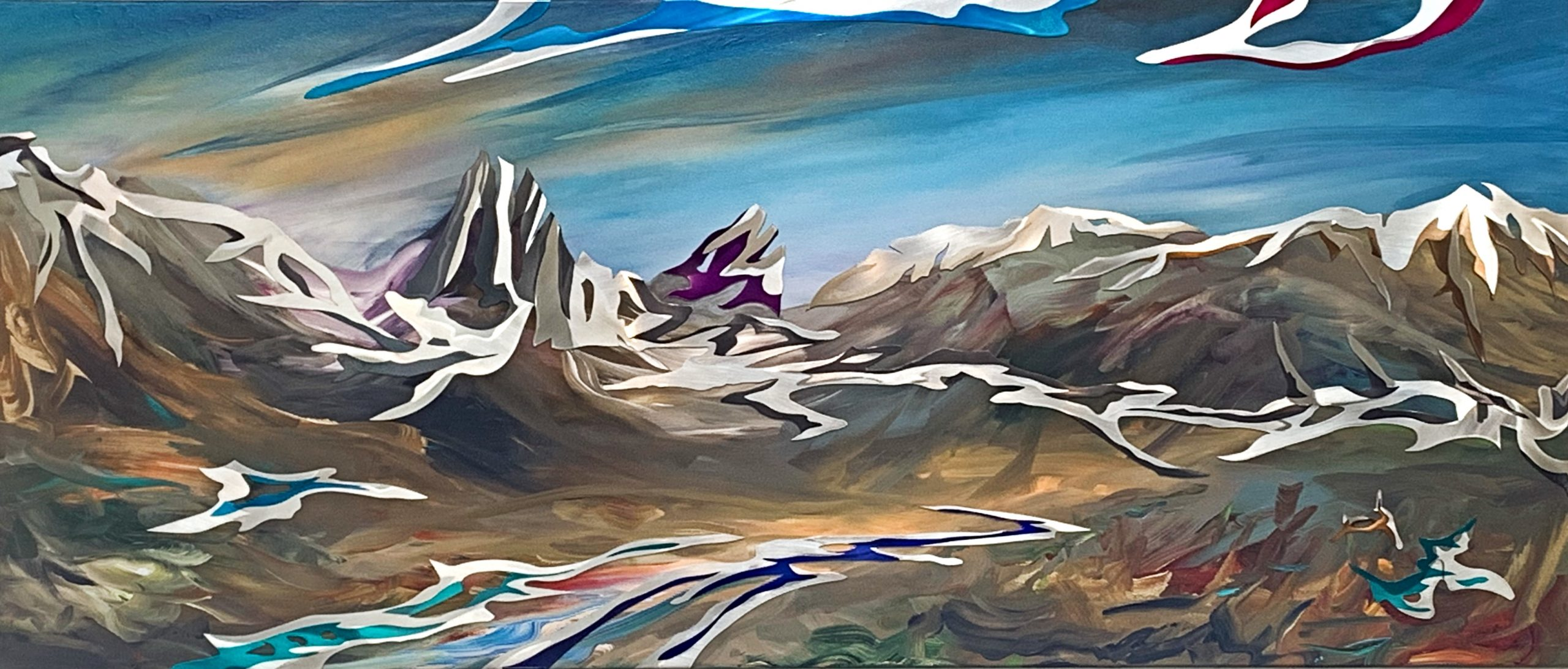 Looking Back, mixed media landscape painting by Joel Masewich | Effusion Art Gallery + Cast Glass Studio, Invermere BC
