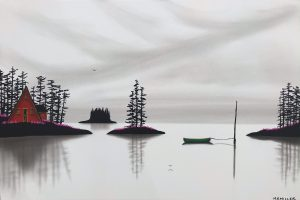 Kicking Your Dreams About, mixed media landscape painting by Natasha Miller   Effusion Art Gallery + Cast Glass Studio, Invermere BC
