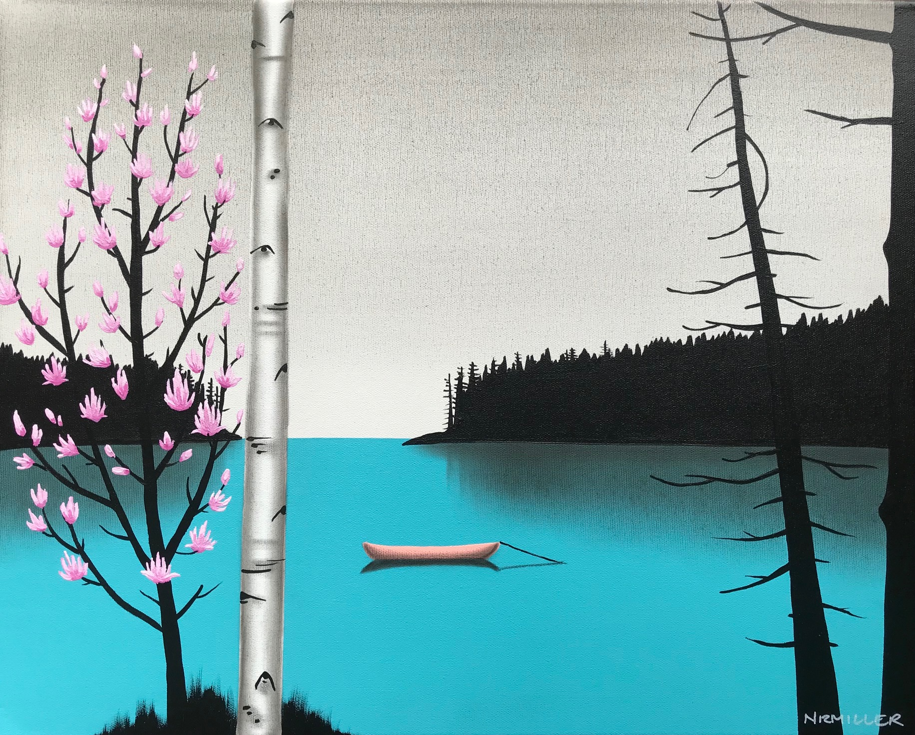 Mountain Magnolias, mixed media landscape painting by Natasha Miller | Effusion Art Gallery + Cast Glass Studio, Invermere BC