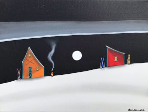 One Last Fondue, mixed media landscape painting by Natasha Miller   Effusion Art Gallery + Cast Glass Studio, Invermere BC