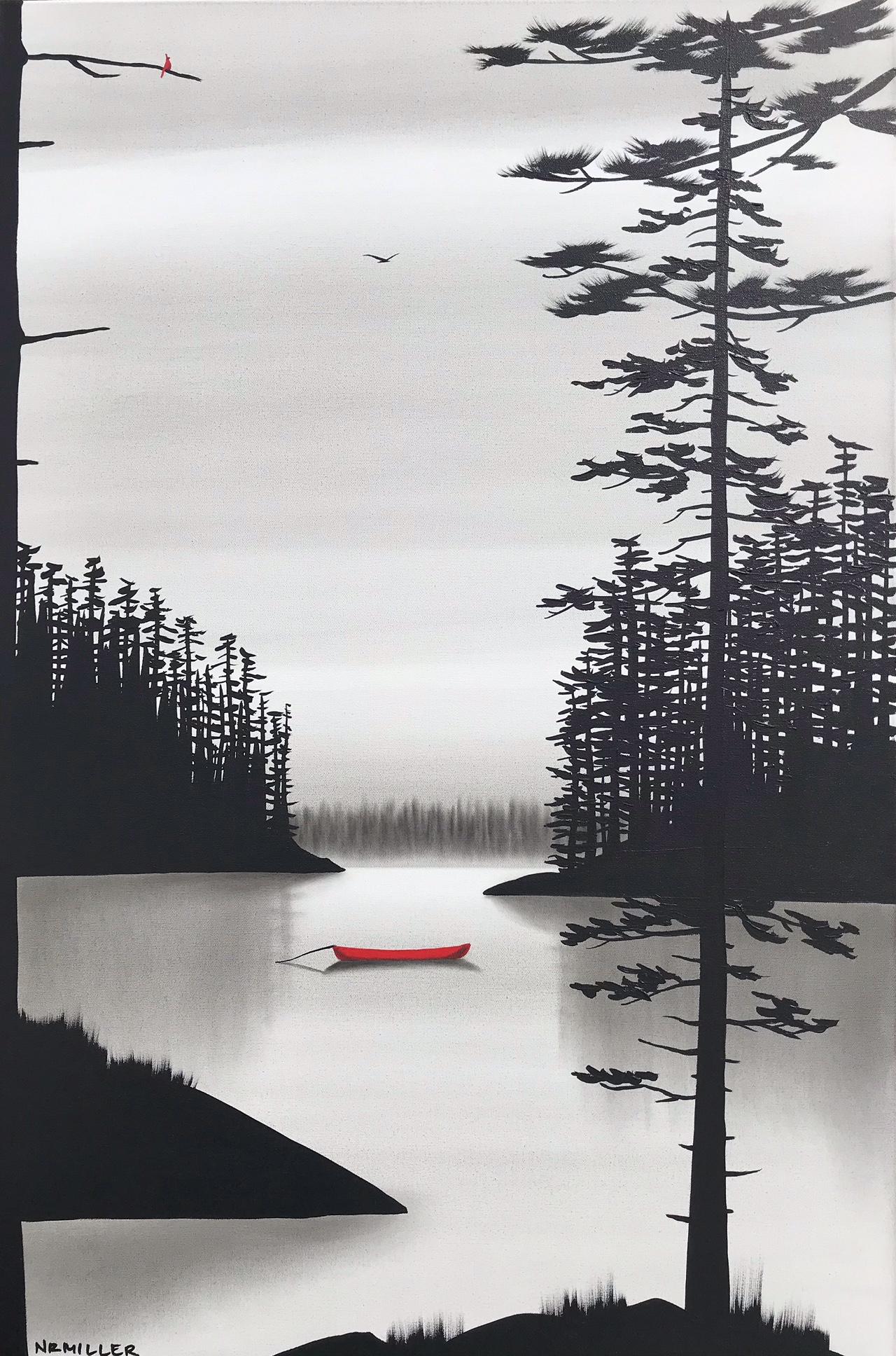 Watching the Water Go By, mixed media landscape painting by Natasha Miller   Effusion Art Gallery + Cast Glass Studio, Invermere BC