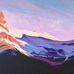 Castle Mountain Lit, landscape painting by Heather Pant | Effusion Art Gallery + Cast Glass Studio, Invermere BC
