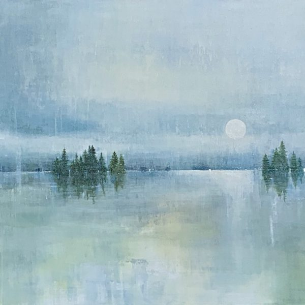 Hearing the Silence, acrylic landscape painting by Gina Sarro   Effusion Art Gallery + Cast Glass Studio, Invermere BC