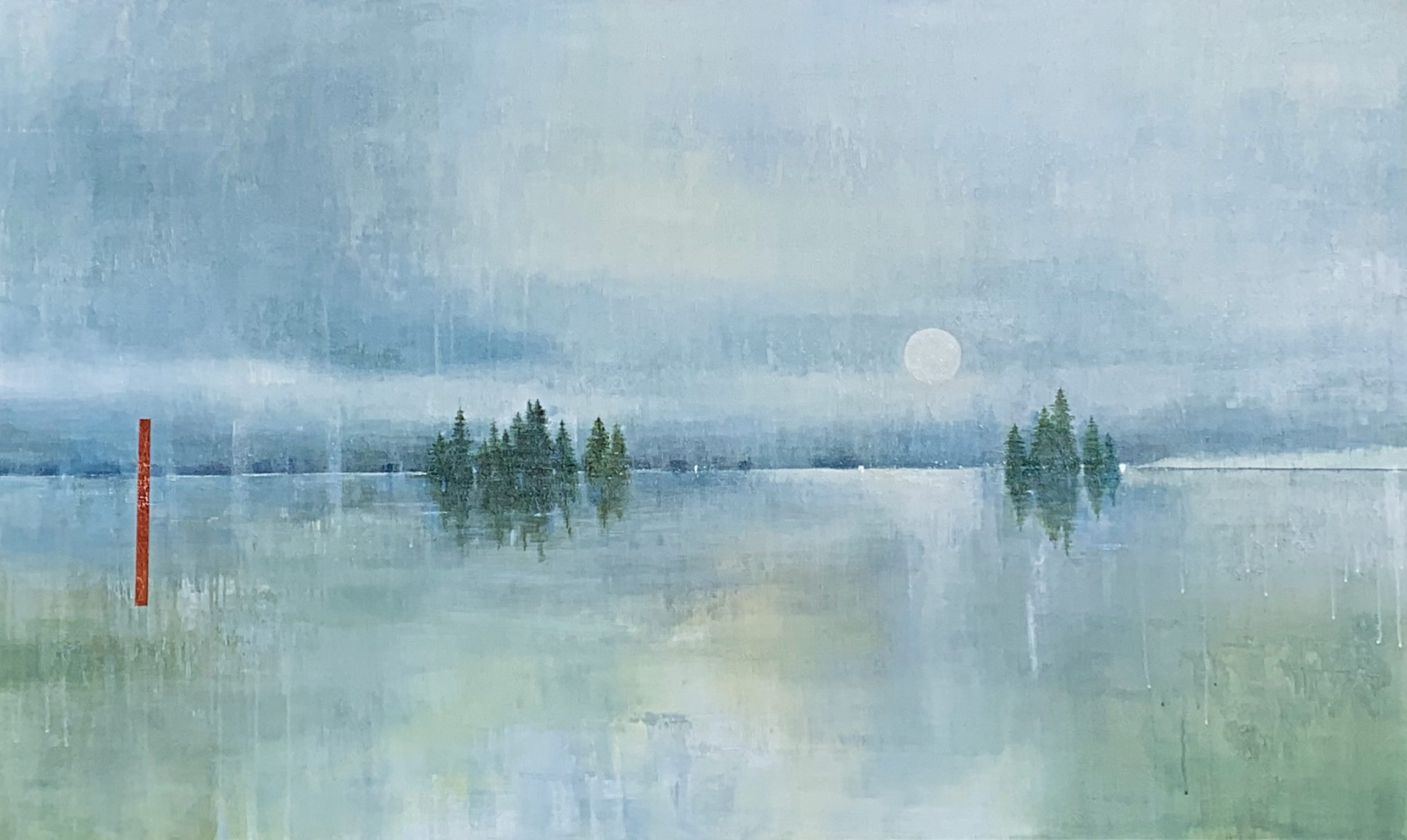 Hearing the Silence, acrylic landscape painting by Gina Sarro | Effusion Art Gallery + Cast Glass Studio, Invermere BC