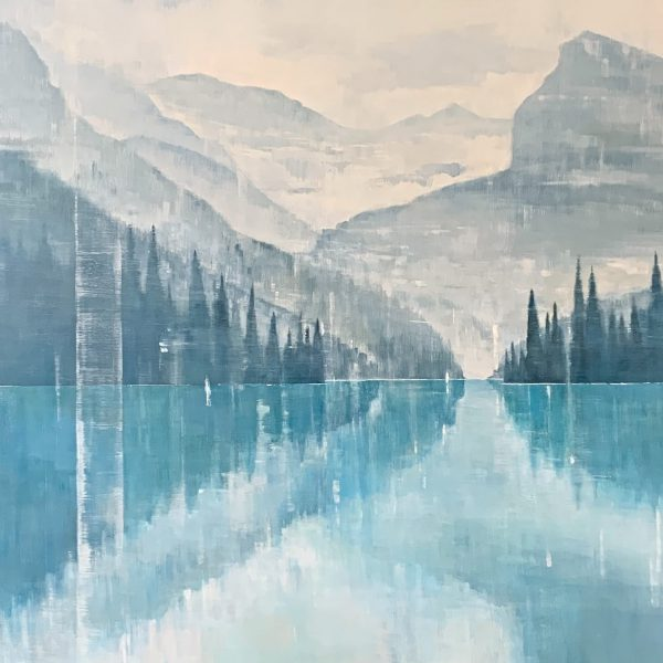 Quiet Reflection, acrylic landscape painting by Gina Sarro   Effusion Art Gallery + Cast Glass Studio, Invermere BC