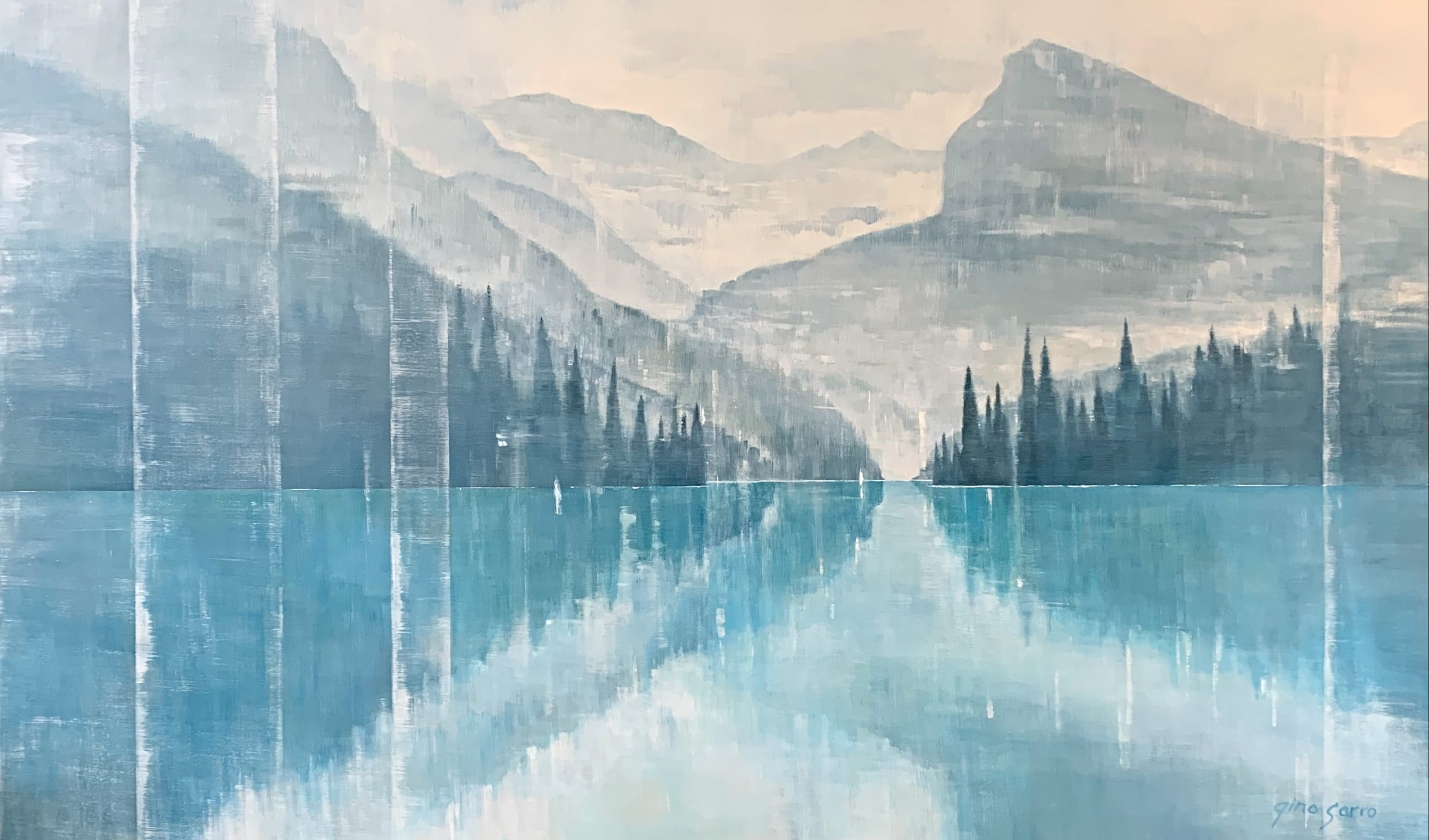 Quiet Reflection, acrylic landscape painting by Gina Sarro | Effusion Art Gallery + Cast Glass Studio, Invermere BC
