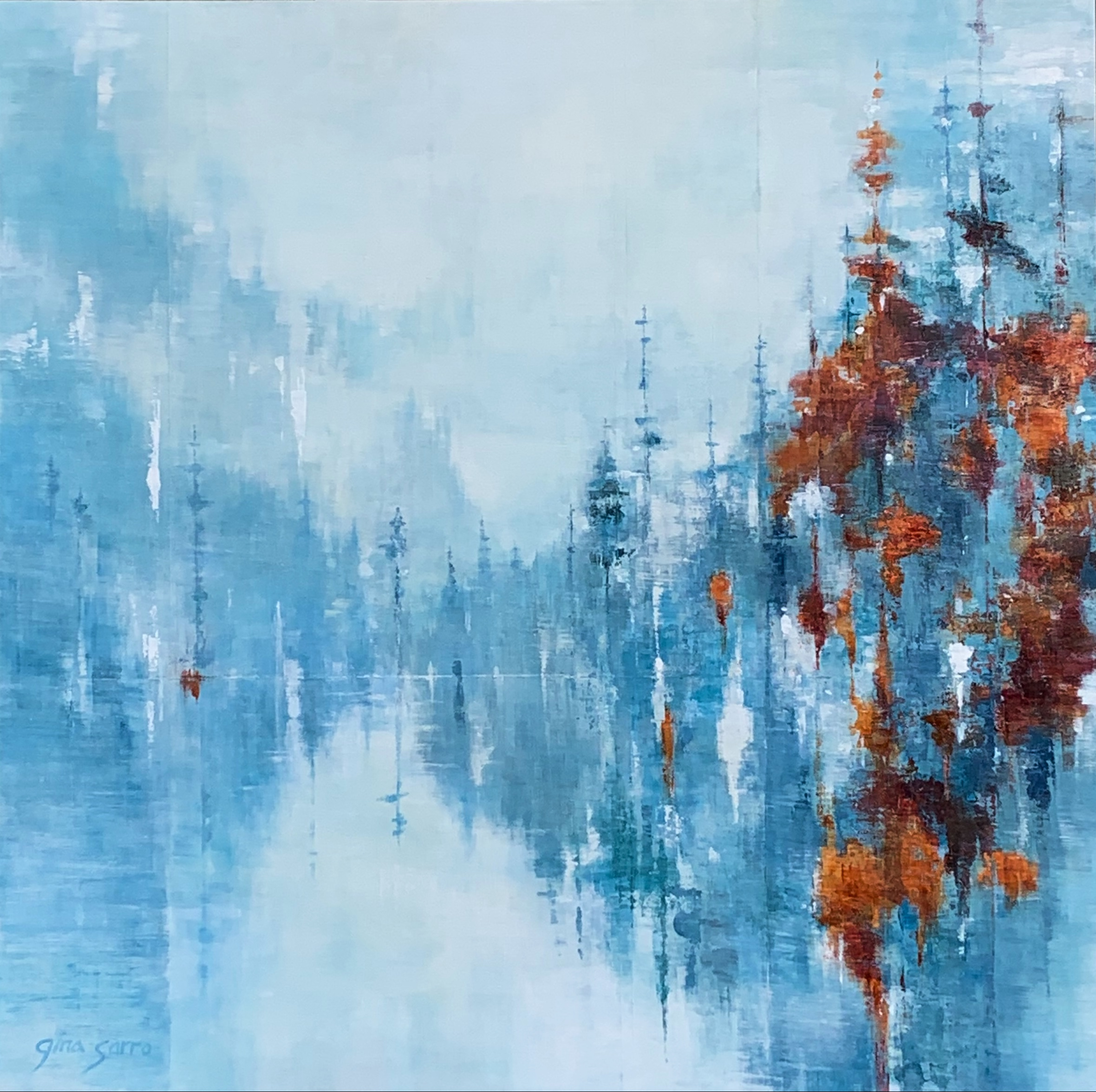 Wanting You Near, acrylic landscape painting by Gina Sarro | Effusion Art Gallery + Cast Glass Studio, Invermere BC