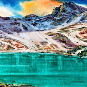 A Hike Up, mixed media landscape painting by David Zimmerman   Effusion Art Gallery + Cast Glass Studio, Invermere BC