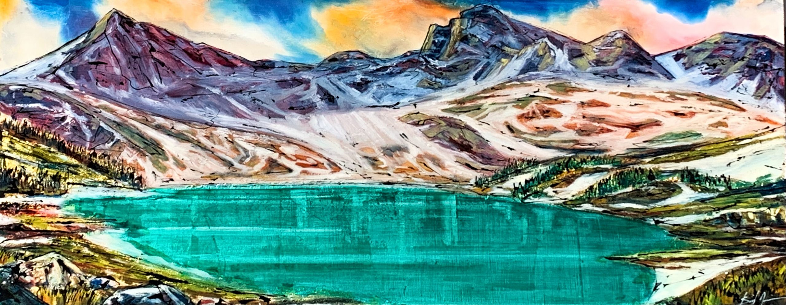 A Hike Up, mixed media landscape painting by David Zimmerman | Effusion Art Gallery + Cast Glass Studio, Invermere BC