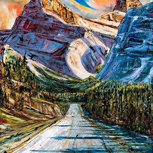 A Journey to Gold, mixed media landscape painting by David Zimmerman   Effusion Art Gallery + Cast Glass Studio, Invermere BC