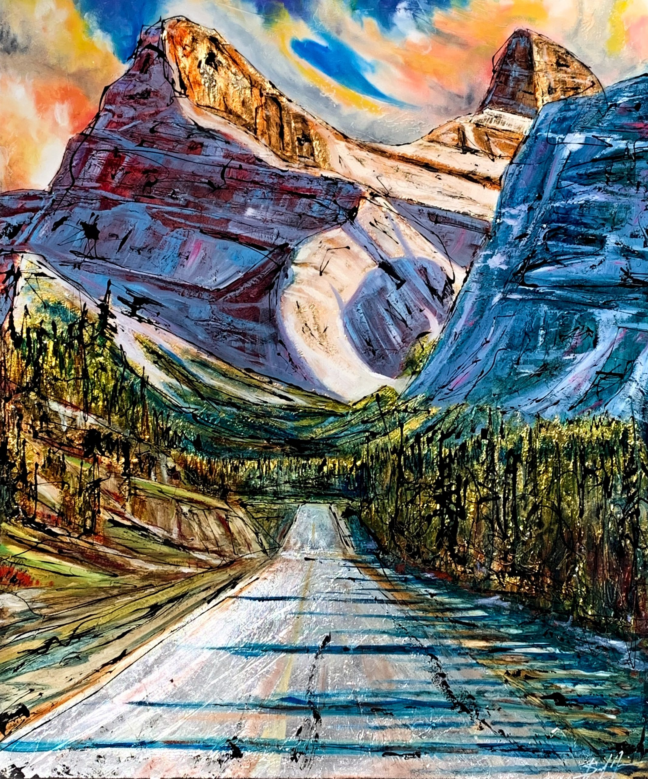 A Journey to Gold, mixed media landscape painting by David Zimmerman | Effusion Art Gallery + Cast Glass Studio, Invermere BC