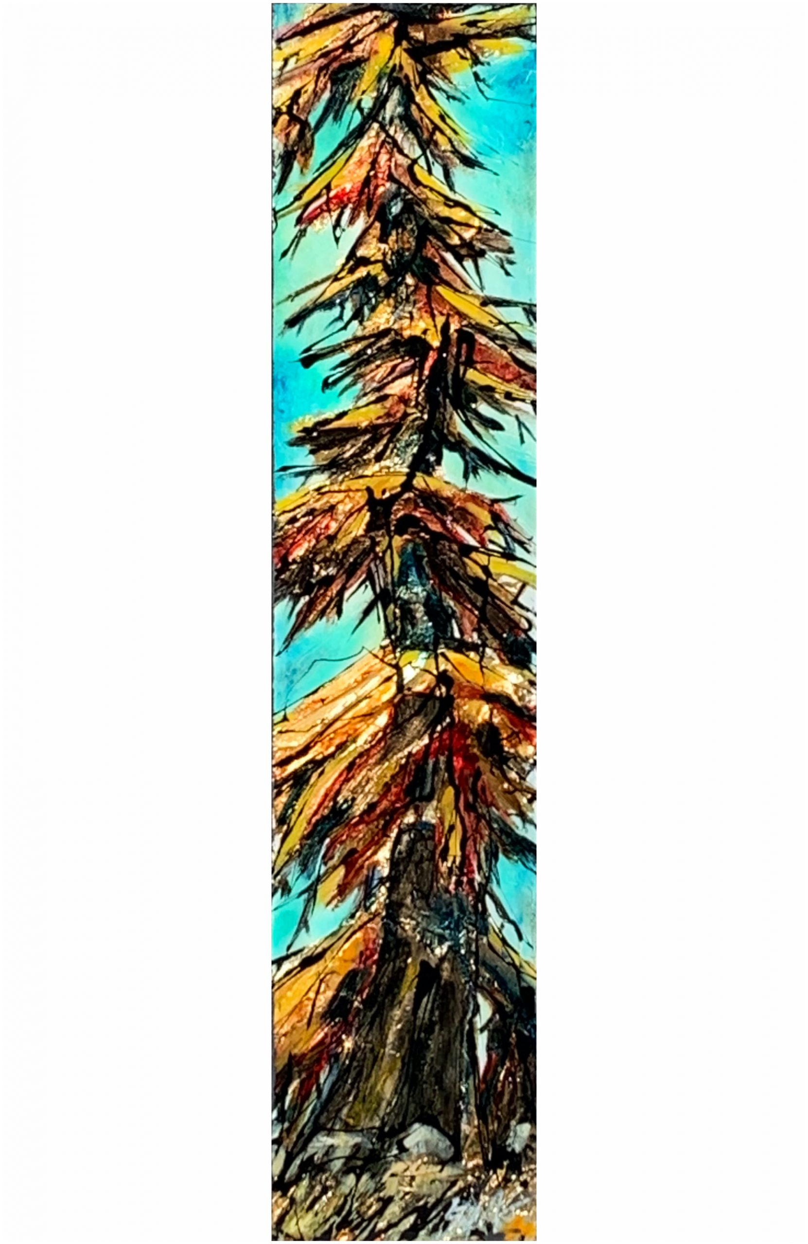 Agreed with That, mixed media tree painting by David Zimmerman | Effusion Art Gallery + Cast Glass Studio, Invermere BC