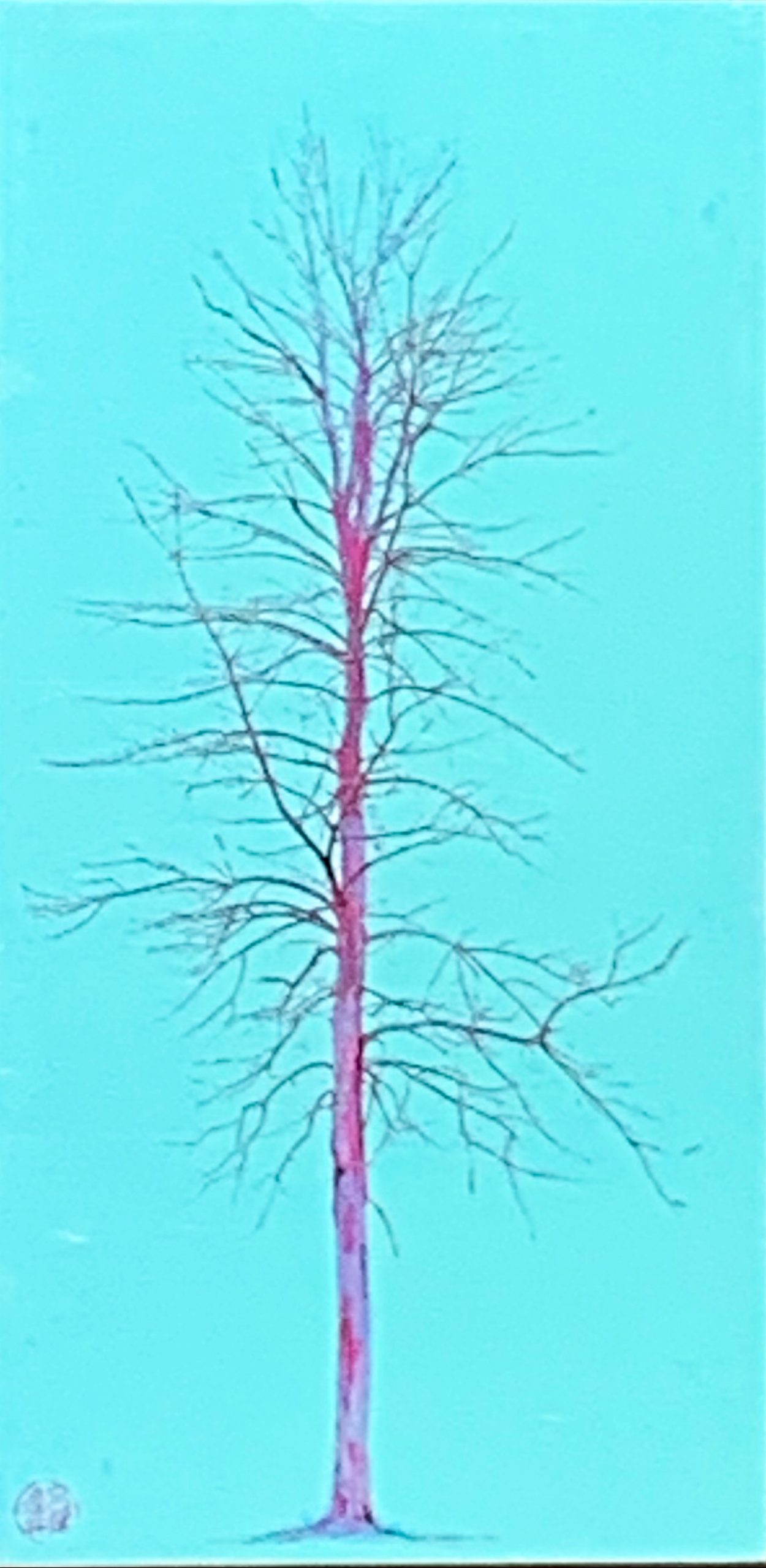 Solitaire Jade, mixed media tree painting by Lori Bagneres   Effusion Art Gallery + Cast Glass Studio, Invermere BC