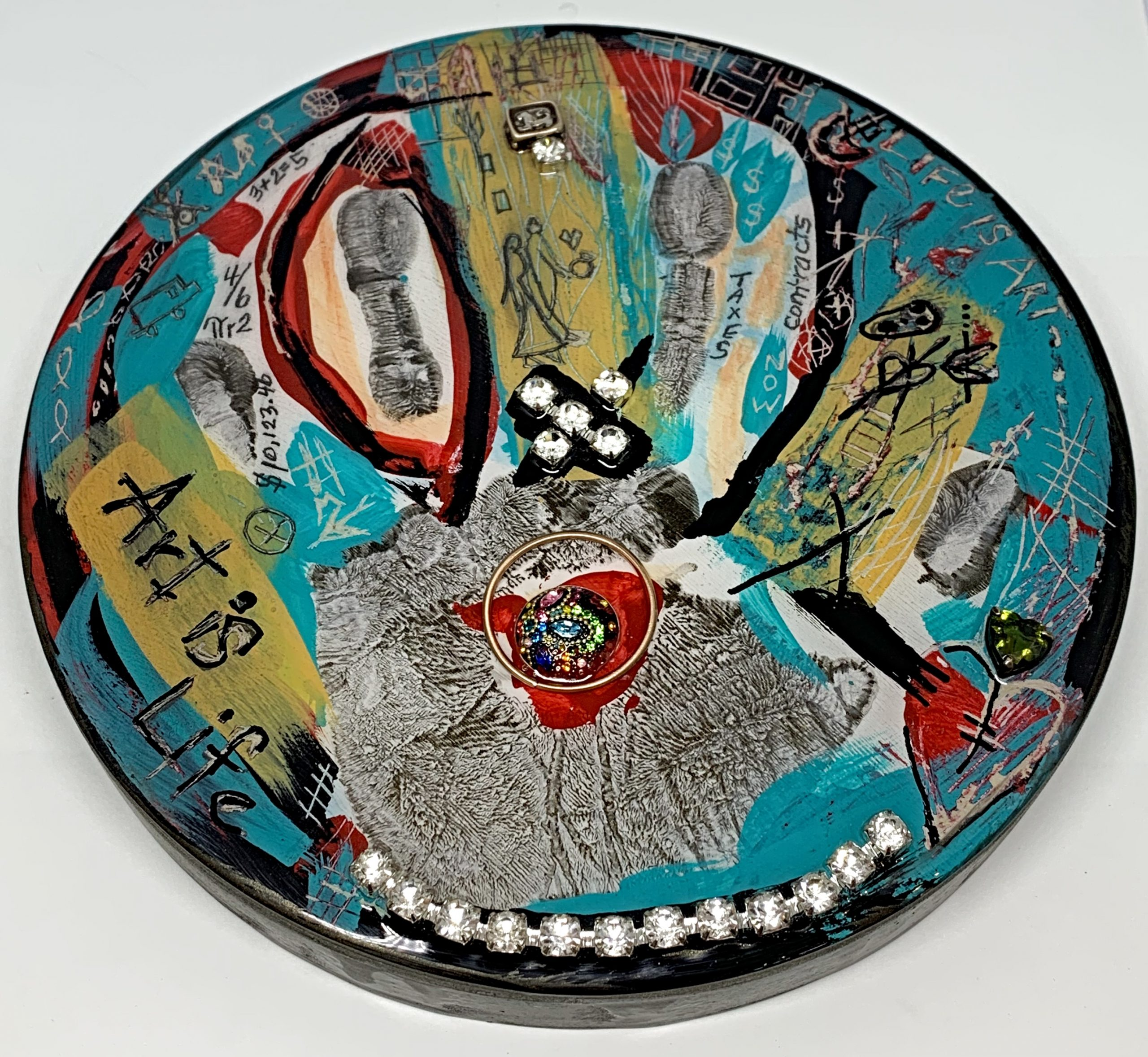 Palm Reader, mixed media painting by Karyn Chopik | Effusion Art Gallery + Cast Glass Studio, Invermere BC