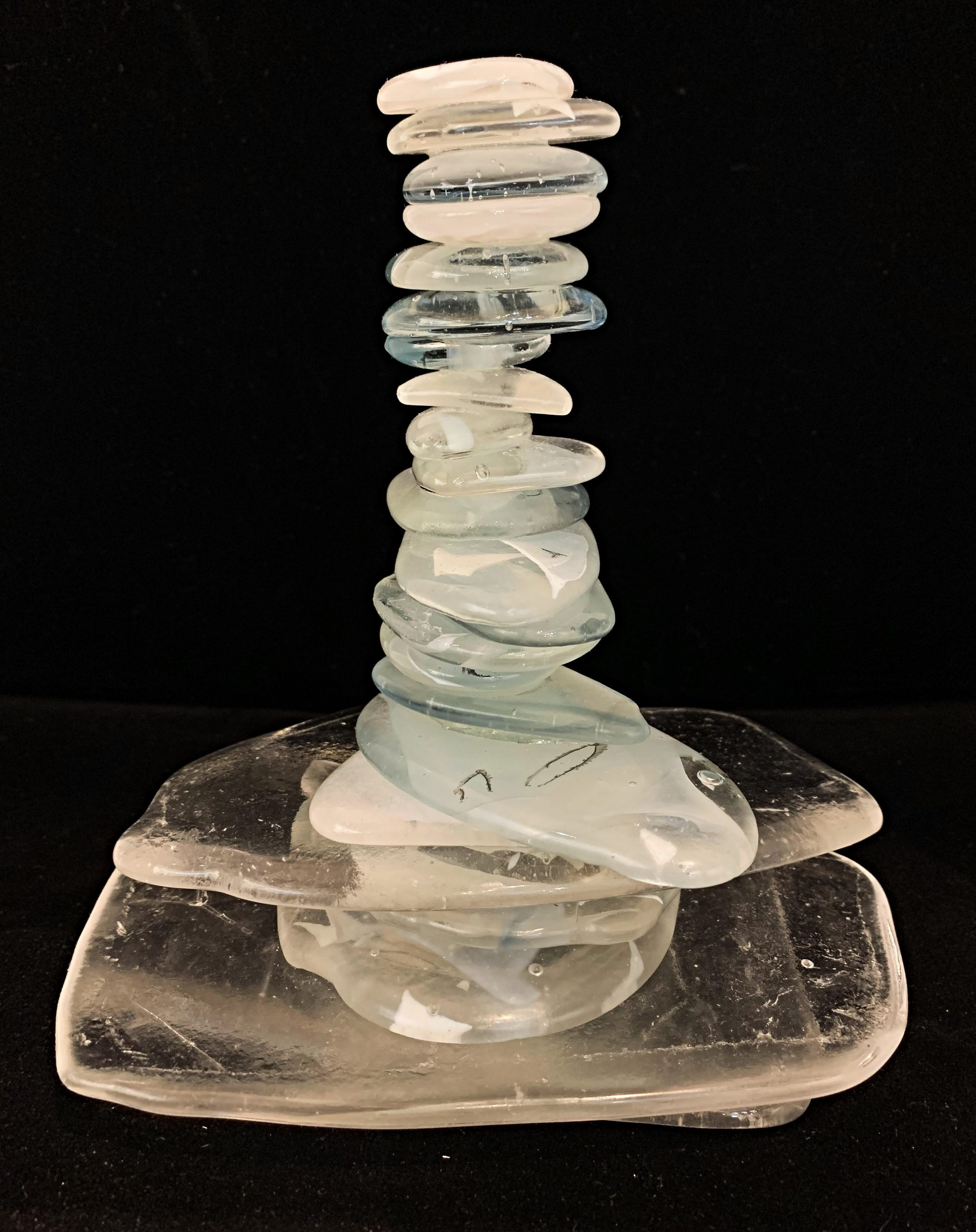 Rocky Mountain Cairn 59, cast glass cairn sculpture by Heather Cuell | Effusion Art Gallery + Cast Glass Studio, Invermere BC
