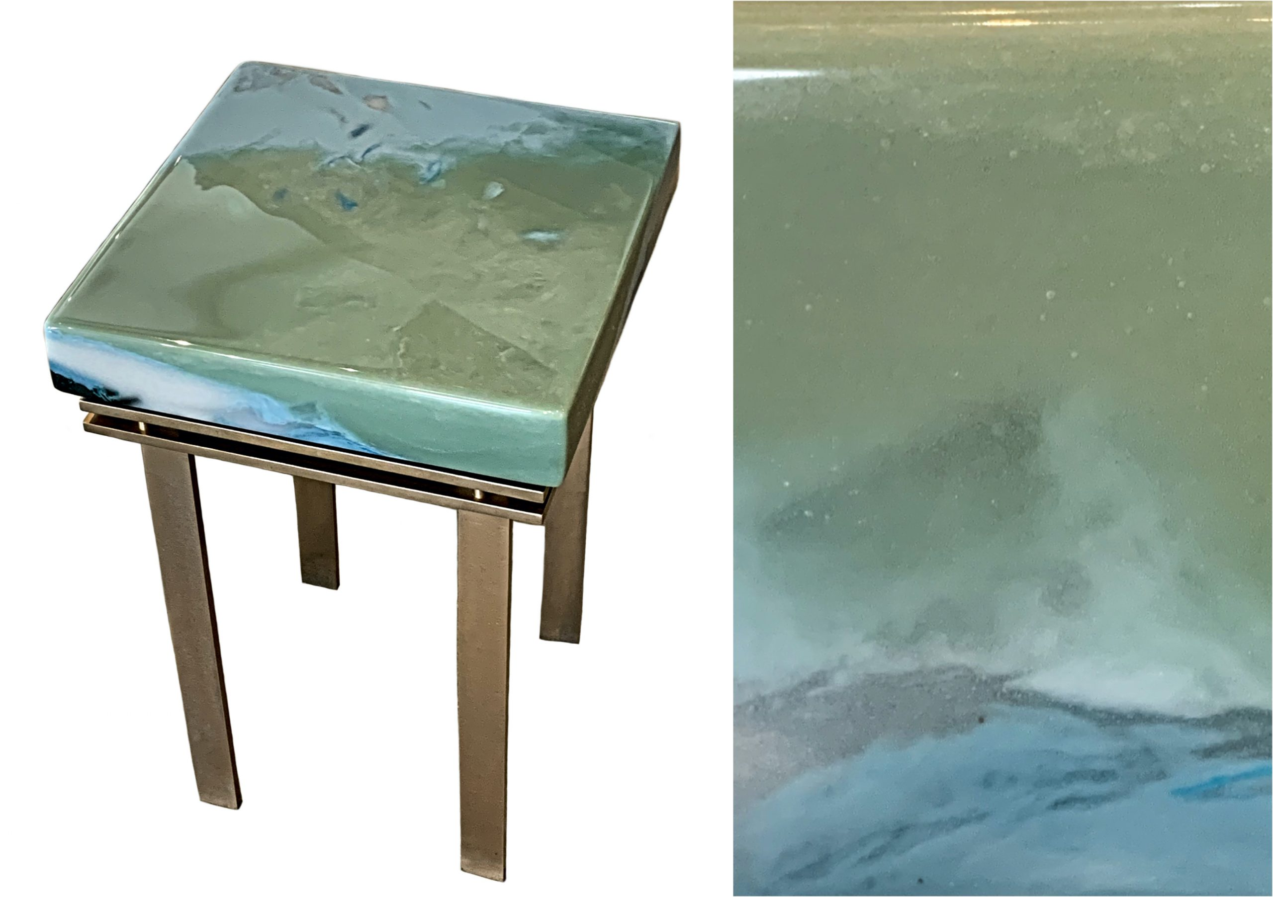 Elements, cast glass and bronze side table by Heather Cuell | Effusion Art Gallery + Cast Glass Studio, Invermere BC