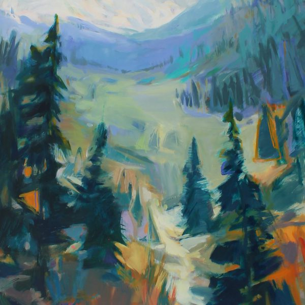 Assiniboine, acrylic landscape painting by Becky Holuk   Effusion Art Gallery + Cast Glass Studio, Invermere BC