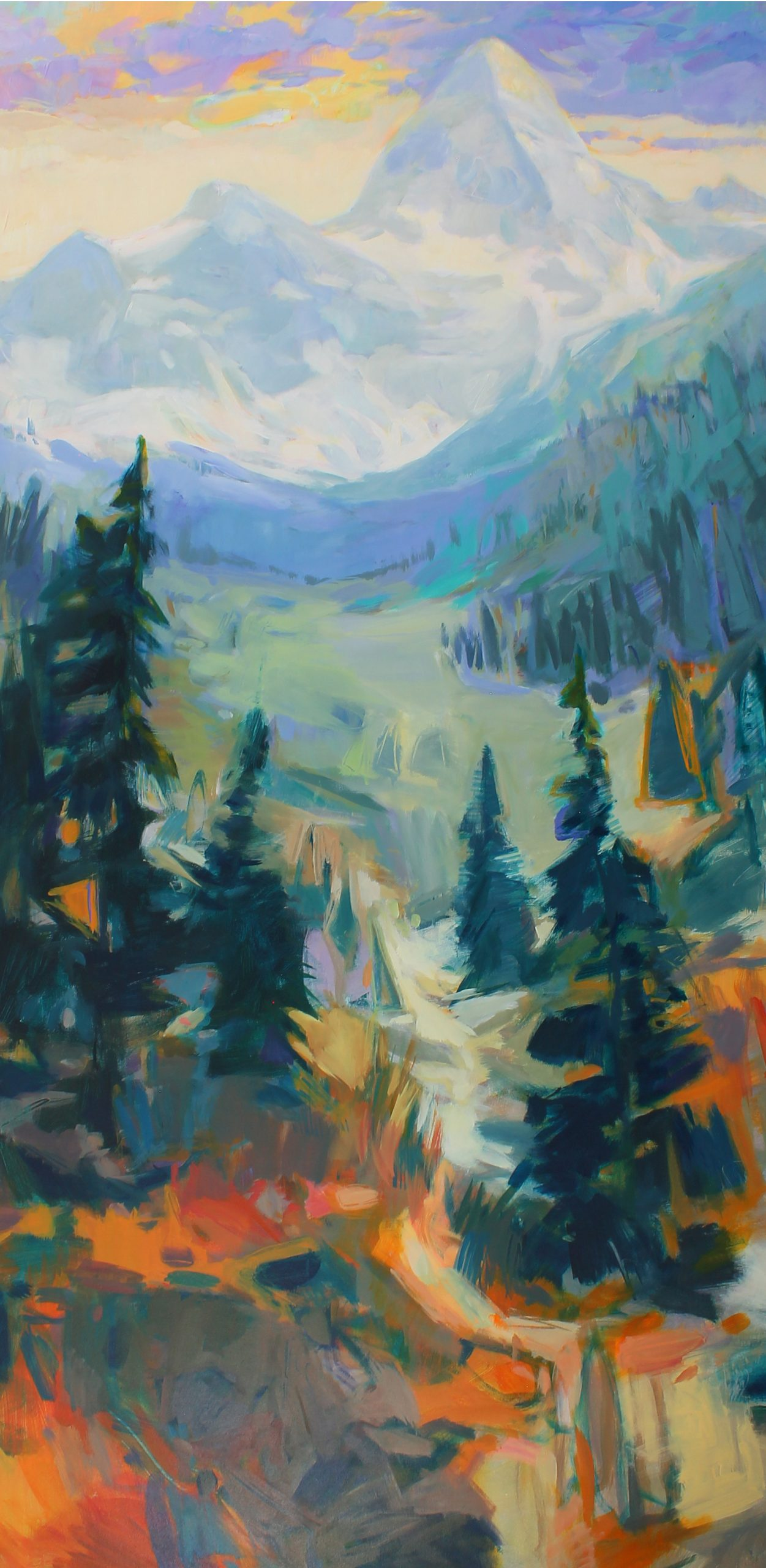 Assiniboine, acrylic landscape painting by Becky Holuk | Effusion Art Gallery + Cast Glass Studio, Invermere BC