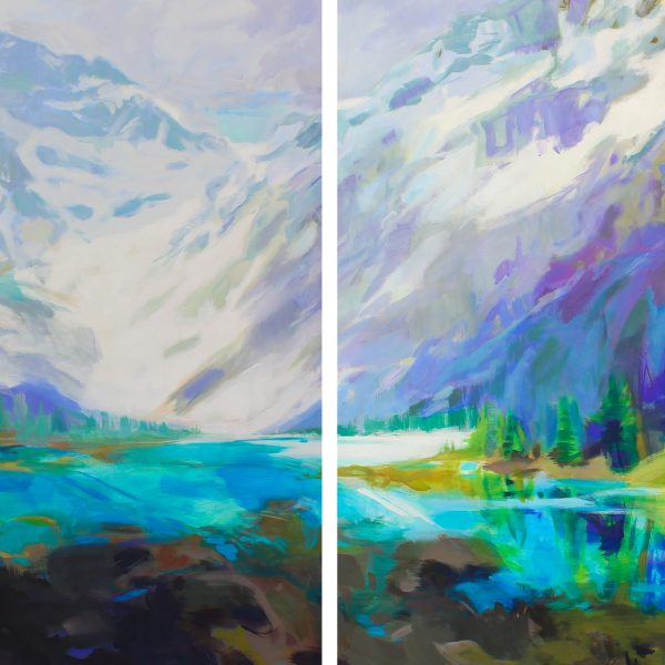 Twins, acrylic landscape painting by Becky Holuk   Effusion Art Gallery + Cast Glass Studio, Invermere BC