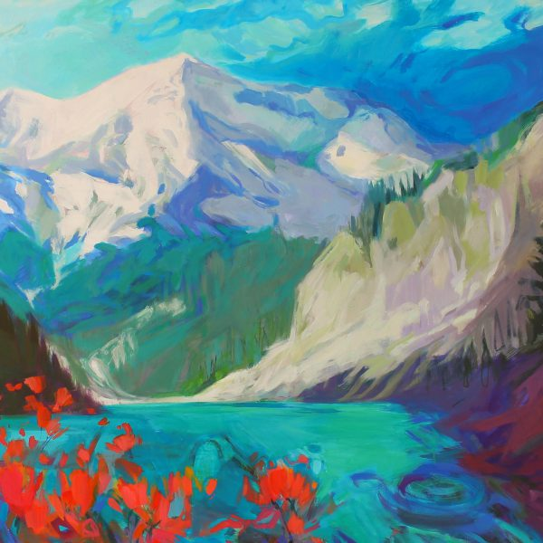 Wild Blue Yonder, acrylic landscape painting by Becky Holuk   Effusion Art Gallery + Cast Glass Studio, Invermere BC