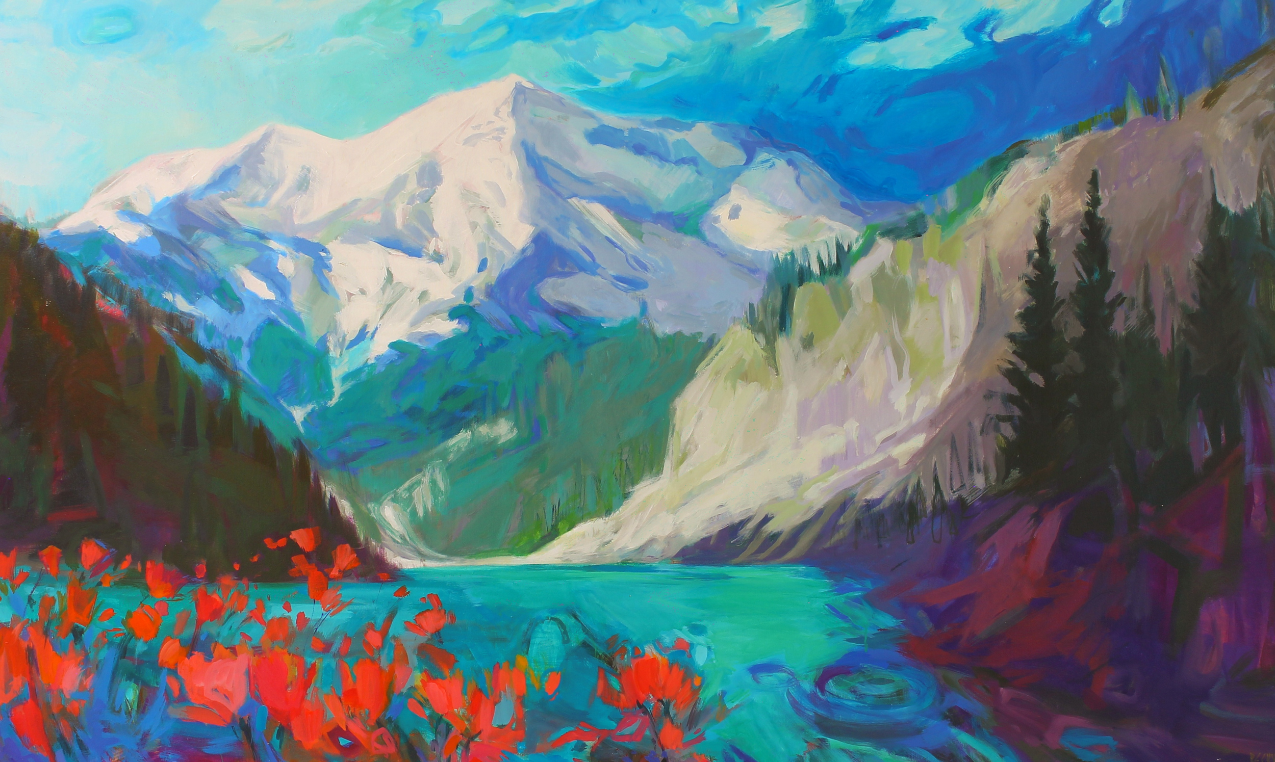 Wild Blue Yonder, acrylic landscape painting by Becky Holuk | Effusion Art Gallery + Cast Glass Studio, Invermere BC