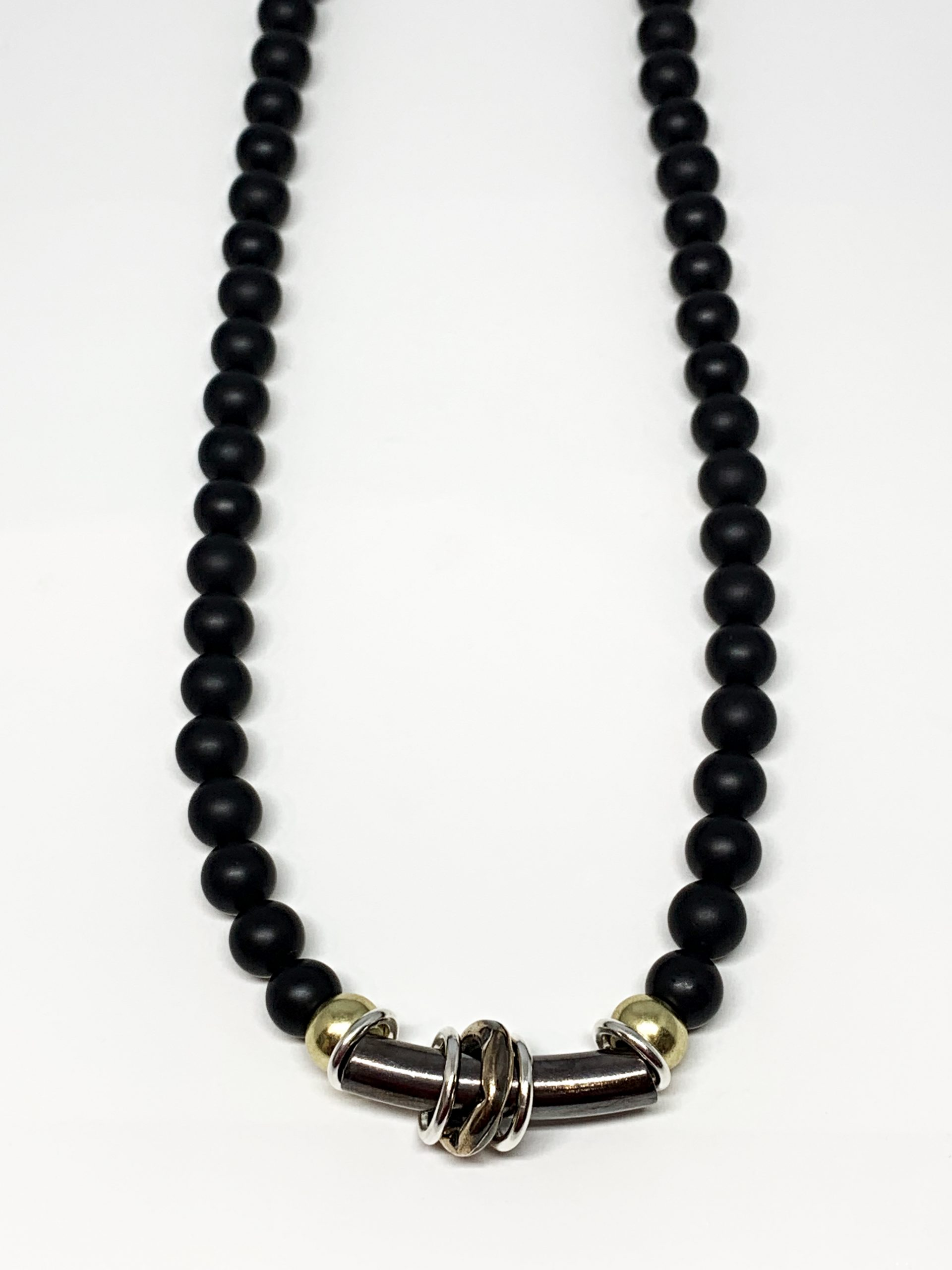Black onyx, bronze, and sterling silver necklace by Karyn Chopik | Effusion Art Gallery + Cast Glass Studio, Invermere BC