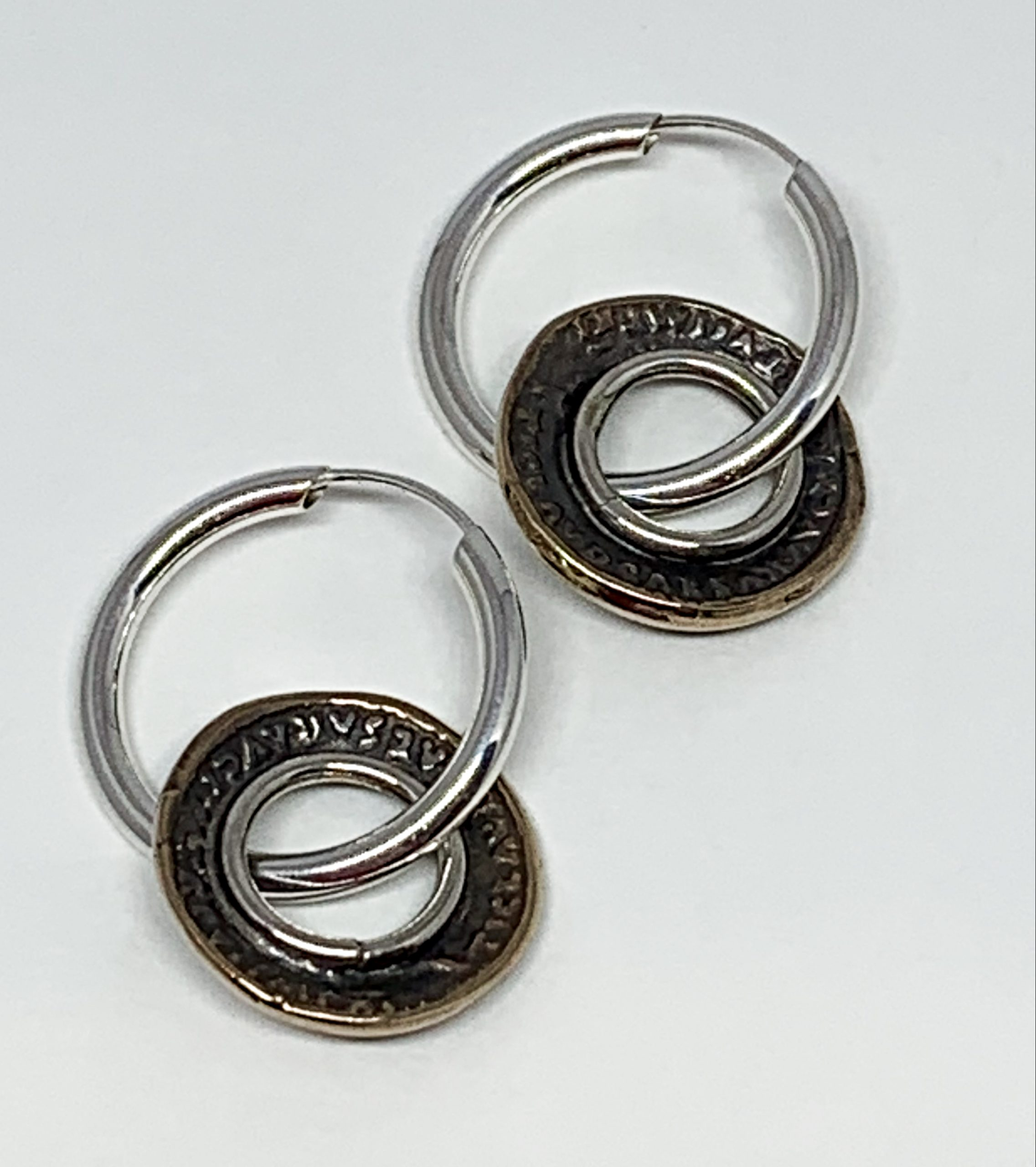 Sterling silver and bronze coin hoop earrings by Karyn Chopik | Effusion Art Gallery + Cast Glass Studio, Invermere BC