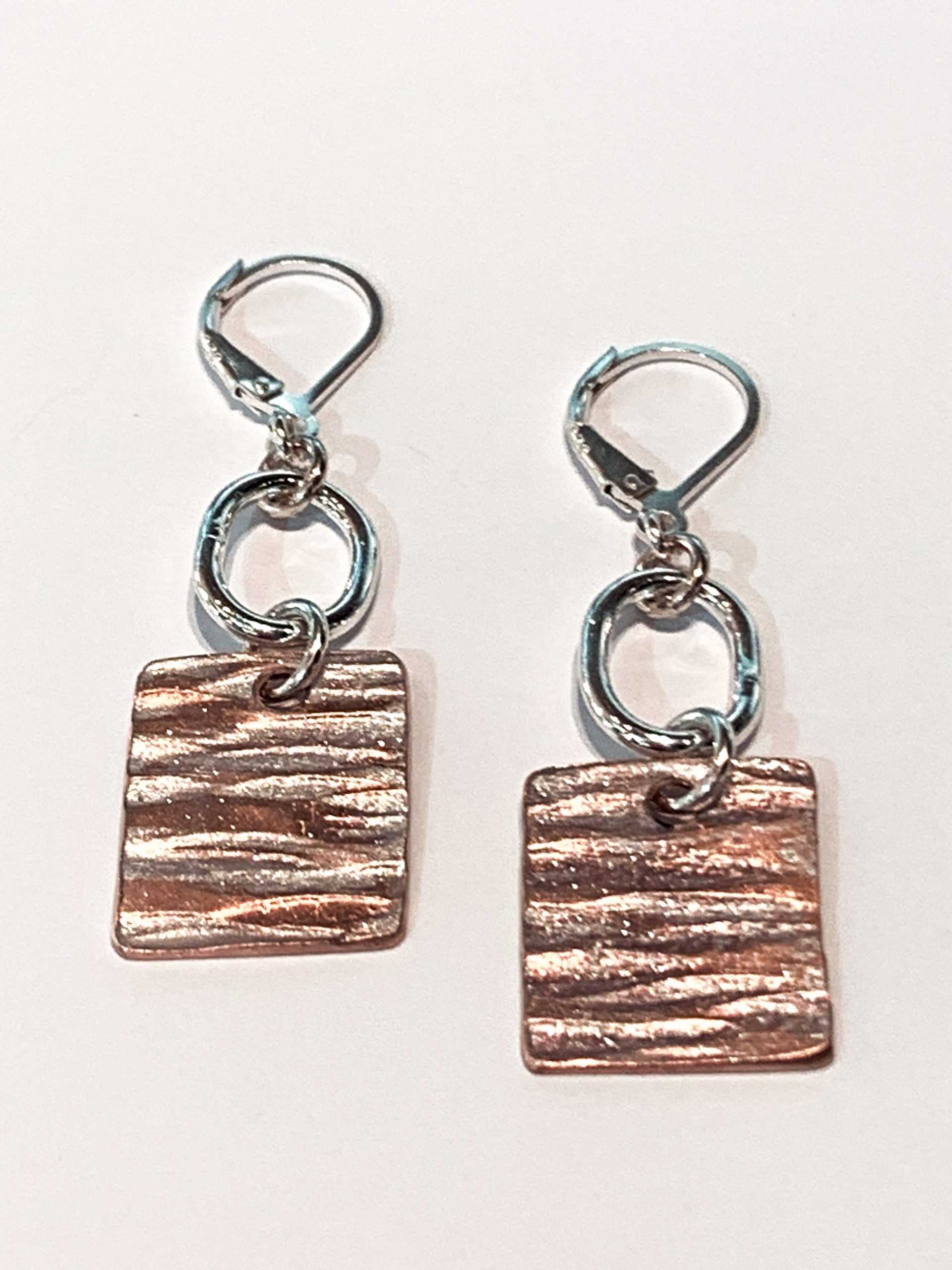 Sterling silver and pearlized copper earrings by Karyn Chopik | Effusion Art Gallery + Cast Glass Studio, Invermere BC